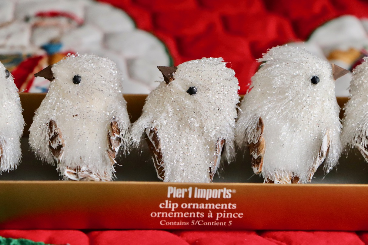 These little birds from Pier1 Imports are one of my favourite ornament sets. I bought these several years ago, but I kept the original boxes!  Photo by: Lighter Side Interiors