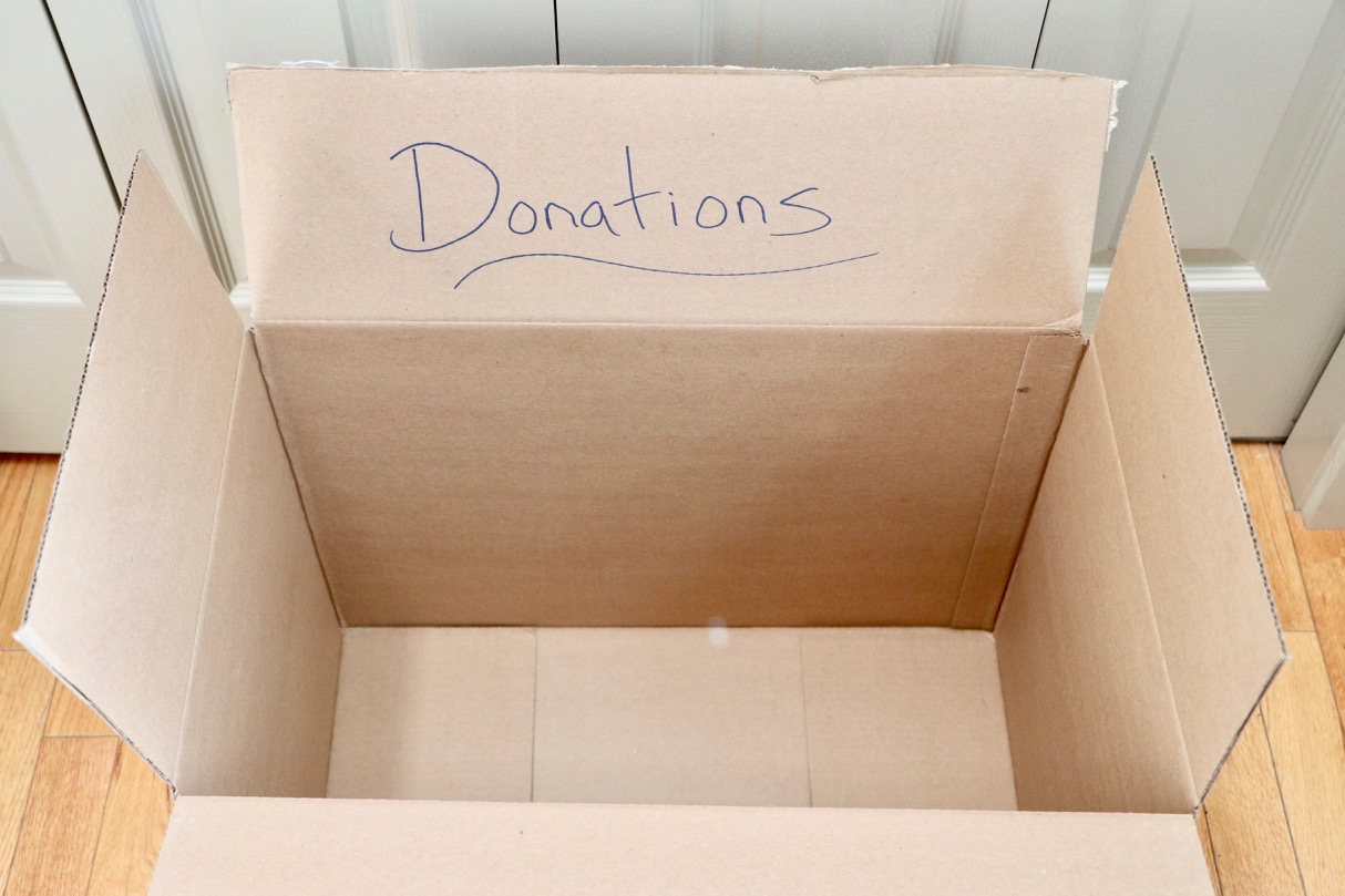 Donation box! Any size cardboard box will do!  Photo by: Lighter Side Interiors