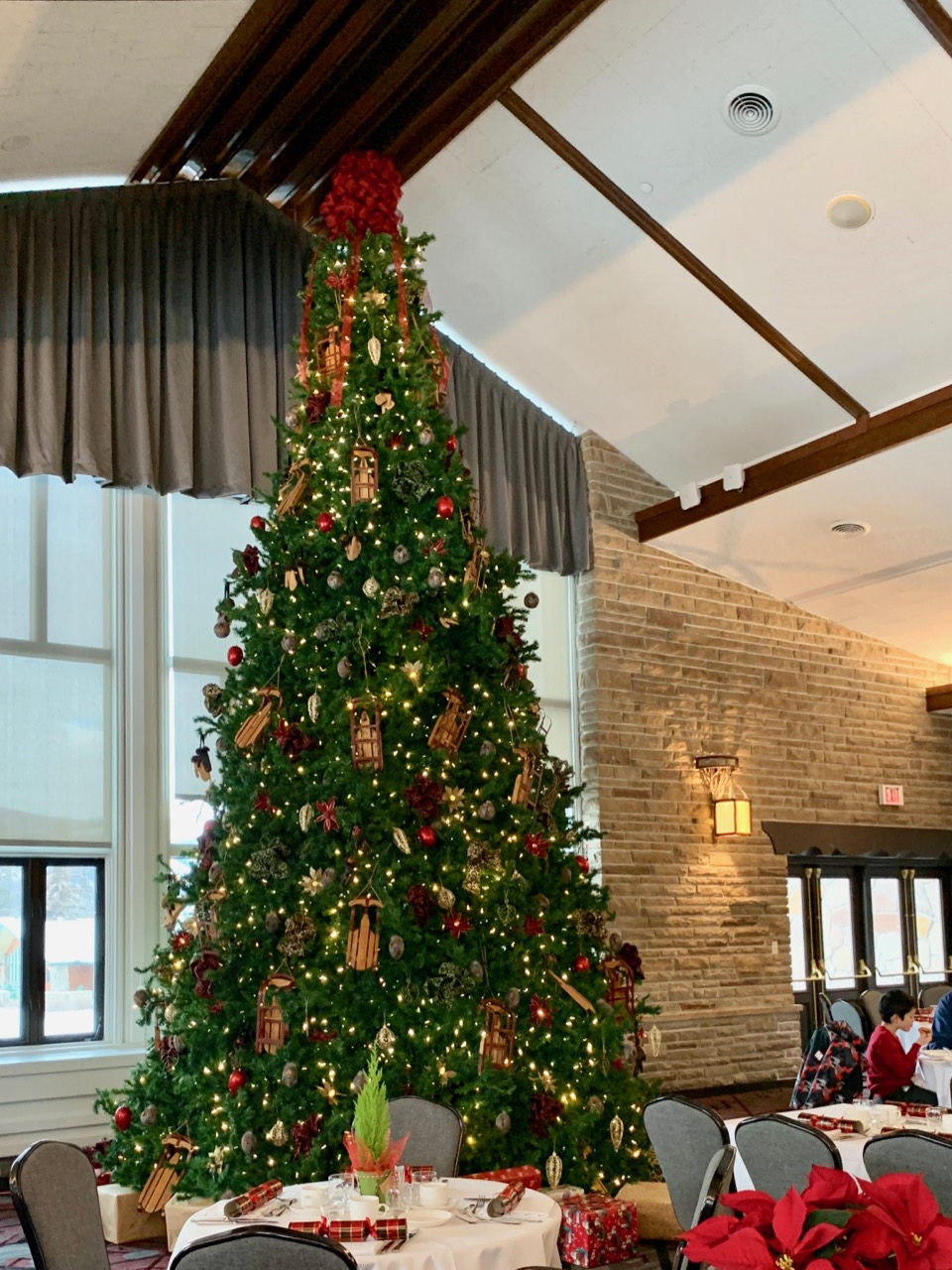 A giant Christmas tree that reached all the way to the ceiling in the Beauvert Room at the Jasper Park Lodge! Photos by: Lighter Side Interiors