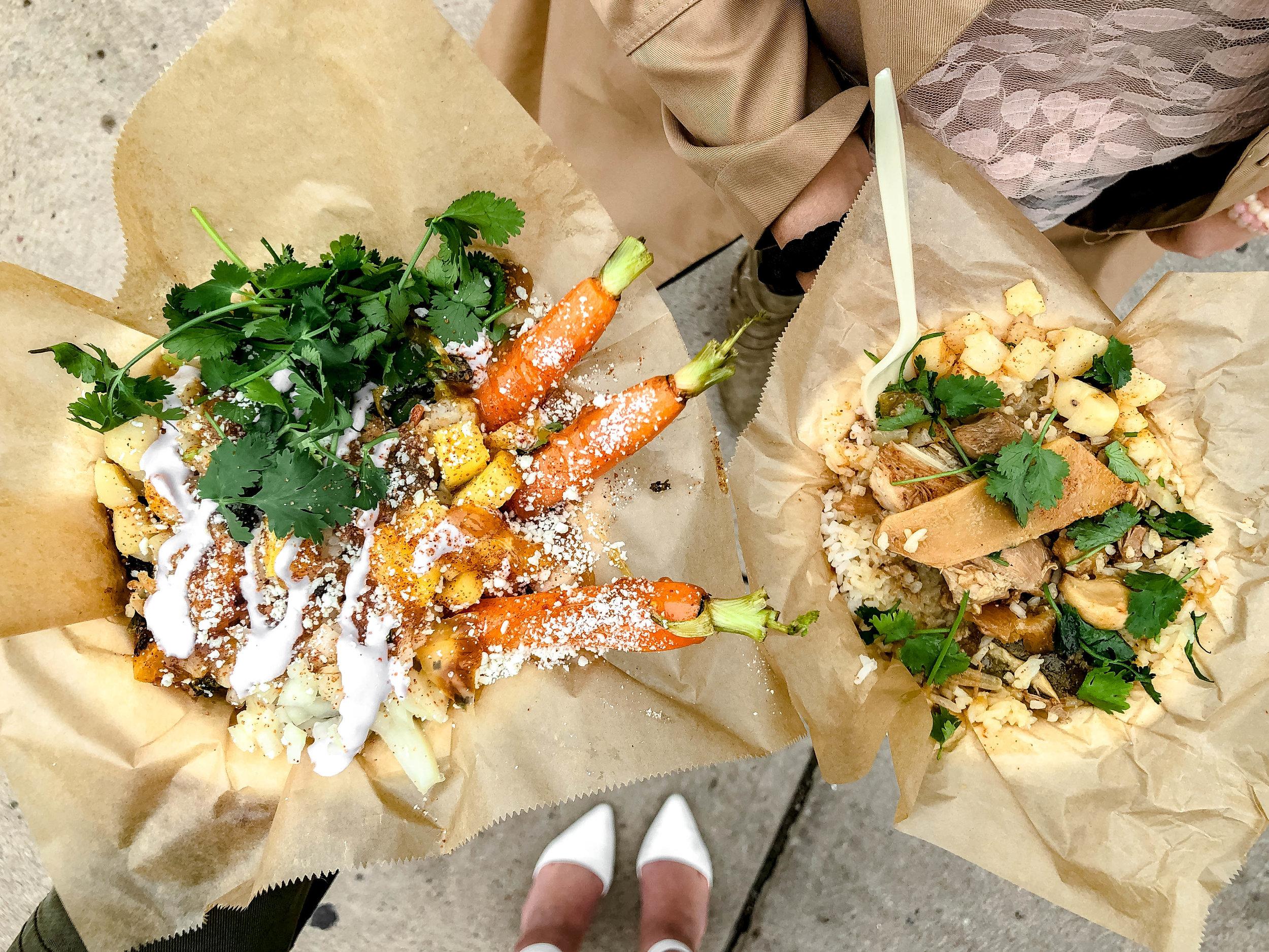 Veggie Stir Fry Taco Plate & Grandma's Filipino Chicken Adobo Rice Bowl by Adobo