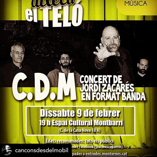@canconsdesdelmobil Dissabte serà un gran dia... Us esperem!!! #cantautors #montornès #musica #musicaencatala #bandaautor #musicaindependent #quimerarecords
