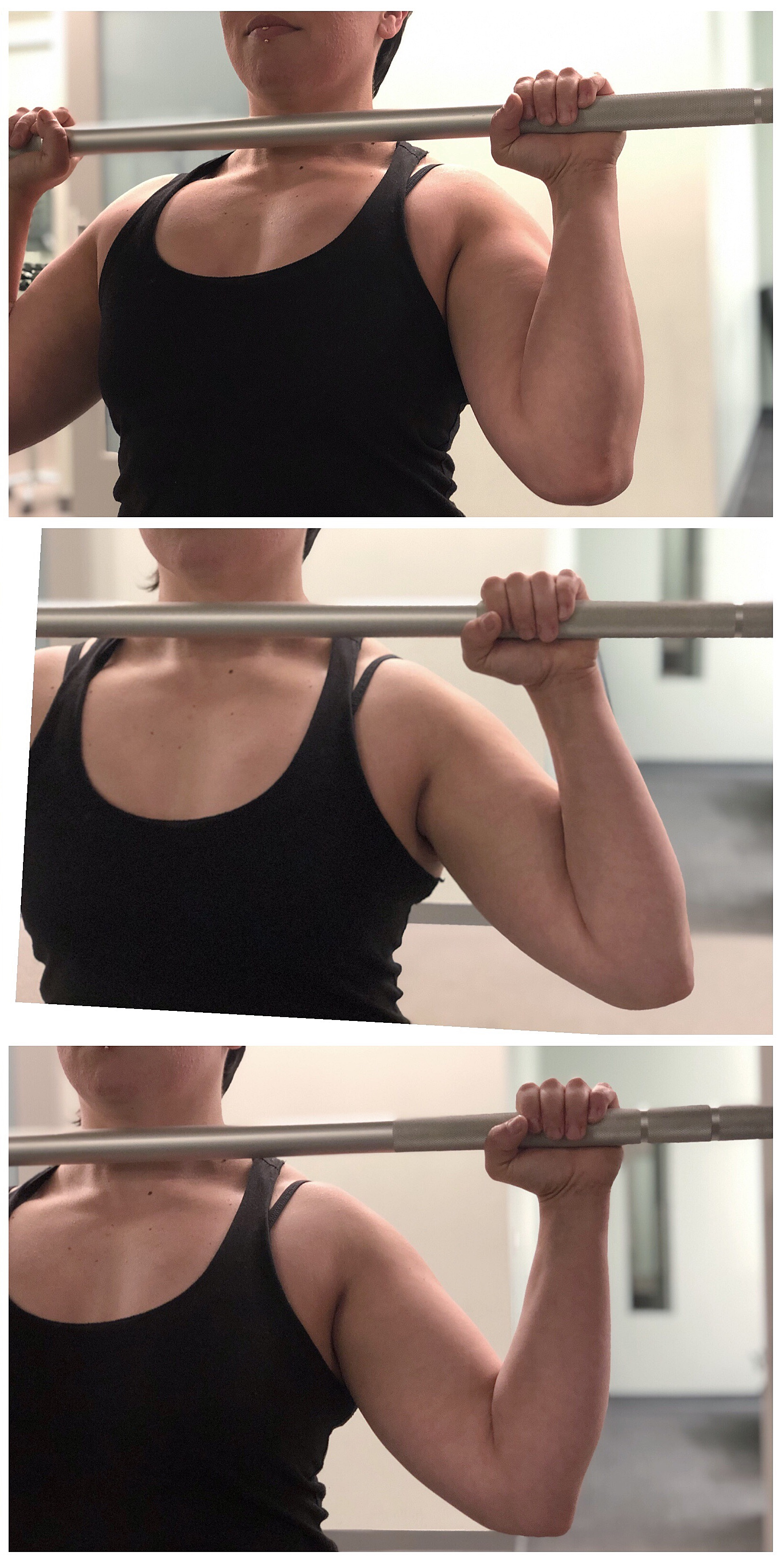 Top: This is the CORRECT POSITION, Middle: INCORRECT- elbow flared out too much, Bottom: INCORRECT- grip too wide.