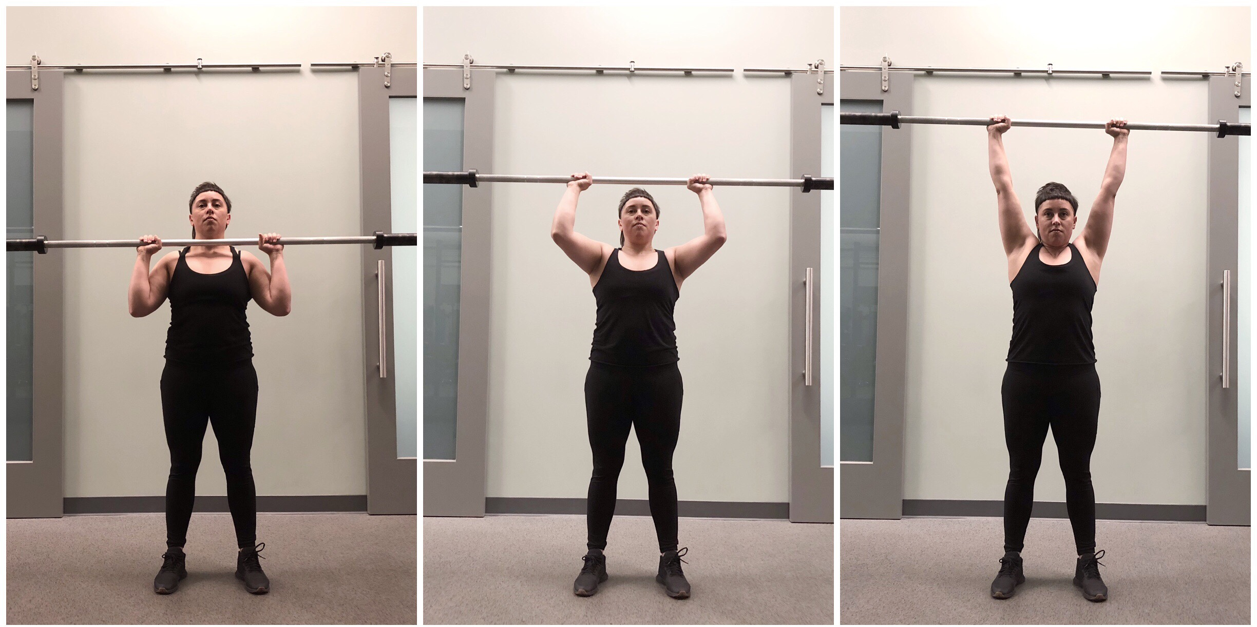 Notice the fully locked out shoulders at the top. Straight elbows and a slight shoulder shrug and neutral wrists.