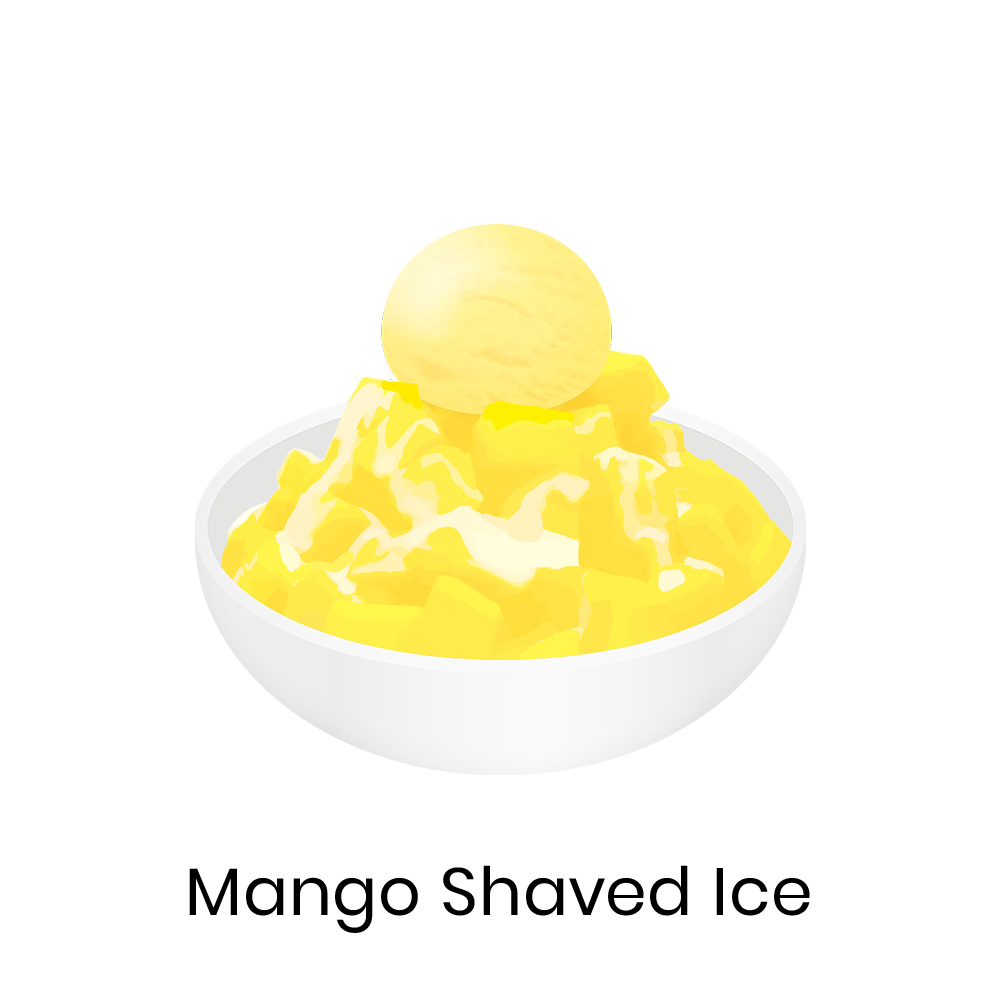 Mango shaved ice  Mango shaved ice is a bowl of shaved ice topped with fresh mangoes, condensed milk, and sometimes mango ice cream or milk pudding. It is a popular Taiwanese dessert.