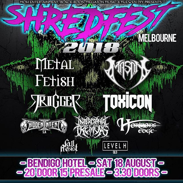 MELBOURNE! Do you like SHRED and/or FEST? Well we have the show for you!  Tickets are here: http://www.moshtix.com.au/v2/event/shredfest-melbourne/10473  #shredfest #melbournemetal #melbournemusic #bendigohotel #aussiemetal #triplej #metal #collingwood #livemusic