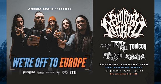 We're seeing the bros in @hollowworldband off to Europe at @thebendigo this Sat!  Come and cut some mad shapes!