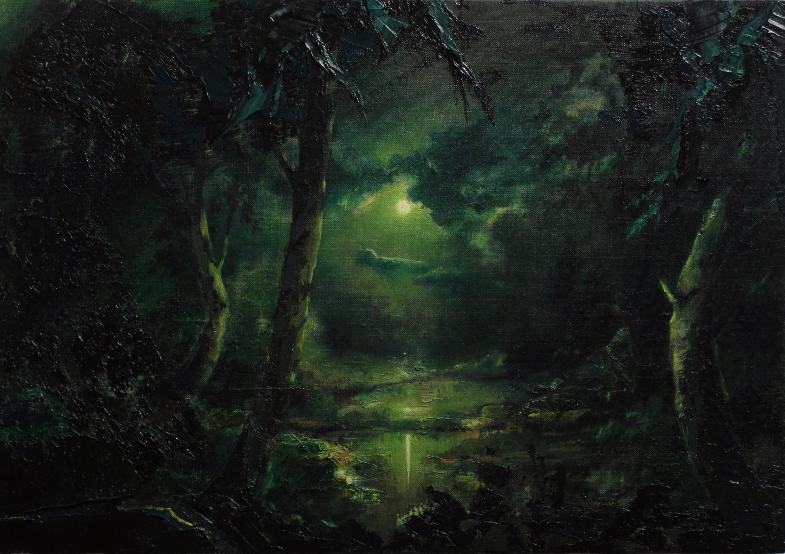 "Nocturne/Moon (1804), 2018, Oil on linen, 14"" x 20 "", Photo: Studio,  Courtesy of 13FOREST Gallery"