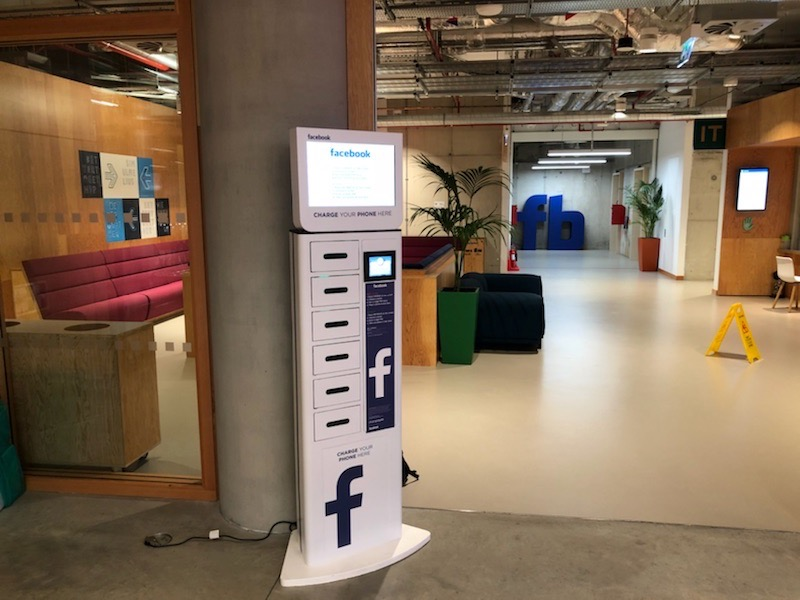 Chargespot UK installed phone charging lockers in Facebook across their European offices.