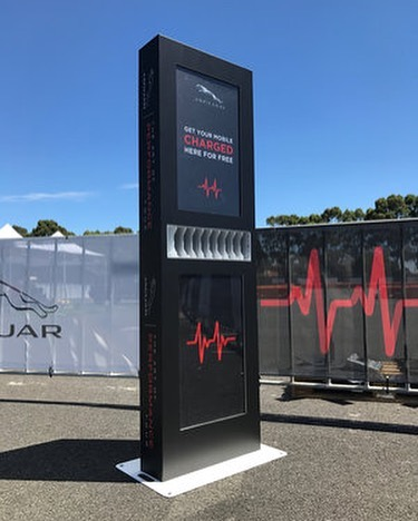 Another exciting charging station for @jaguar ! Offering phone charging is a great way for brands to provide an essential service that users genuinely appreciate! Speak to us today! #phonecharging #jaguar #branding #marketing #advertising