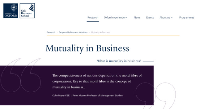 Visit Website - Mutuality in Business, Saïd Business School