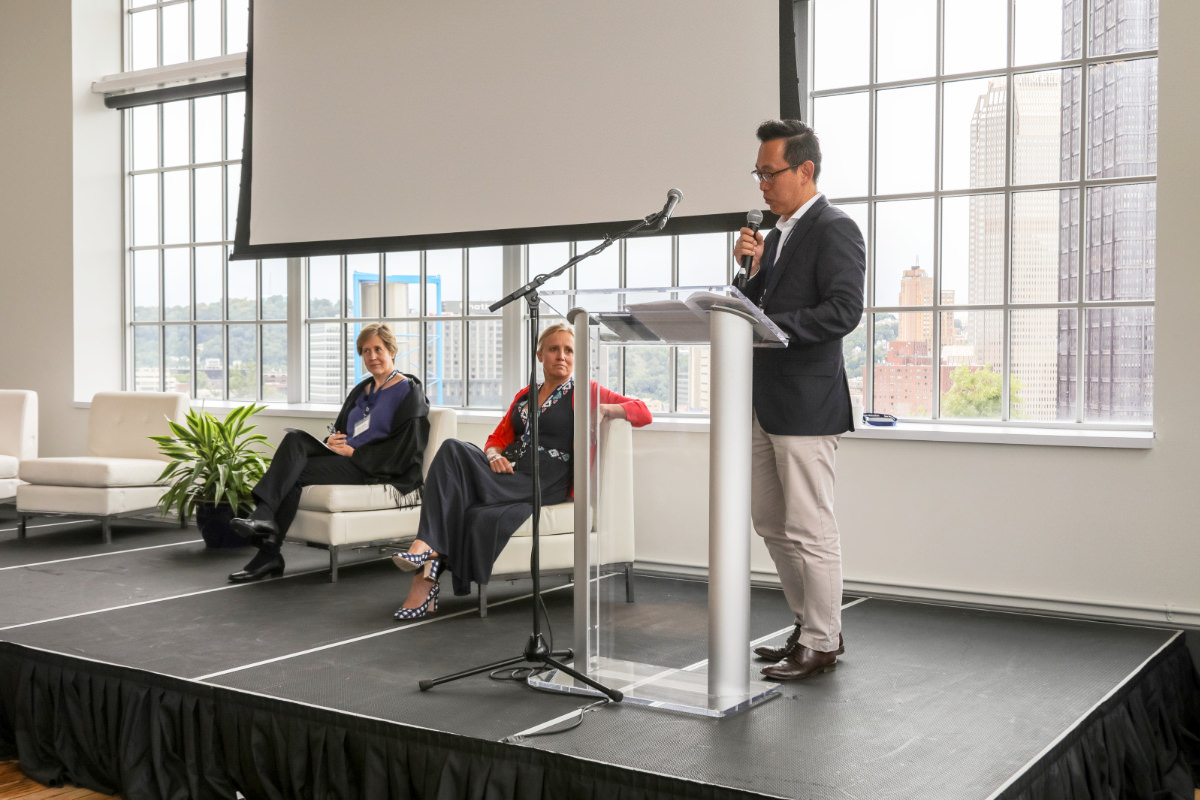 Left to right:     Professor Ann Florini    from Singapore Management University and the University of Maryland School of Public Policy,      Jane Craig    from Mars University and    Kwang Kim    from the World Bank present on topics related to the Economics of Mutuality