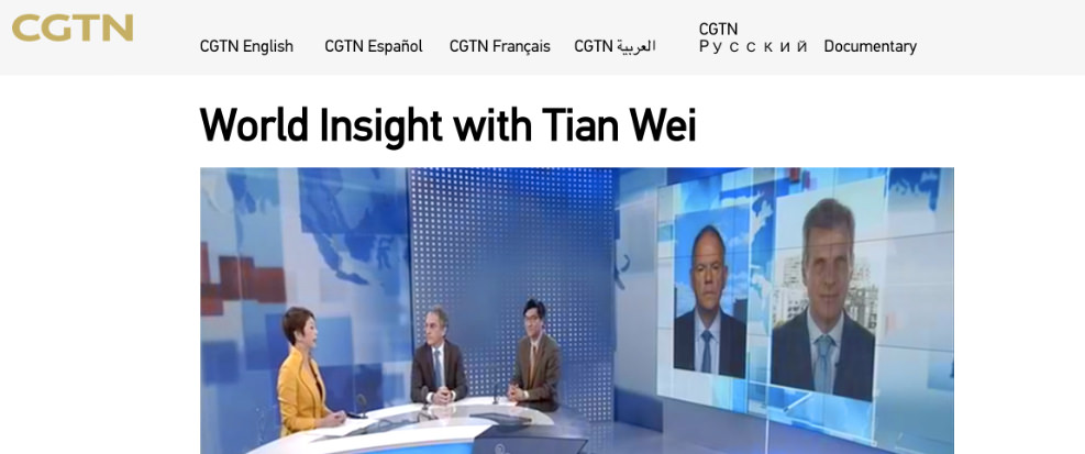 Bruno Roche Analysesthe Global Economy on Chinese Television -
