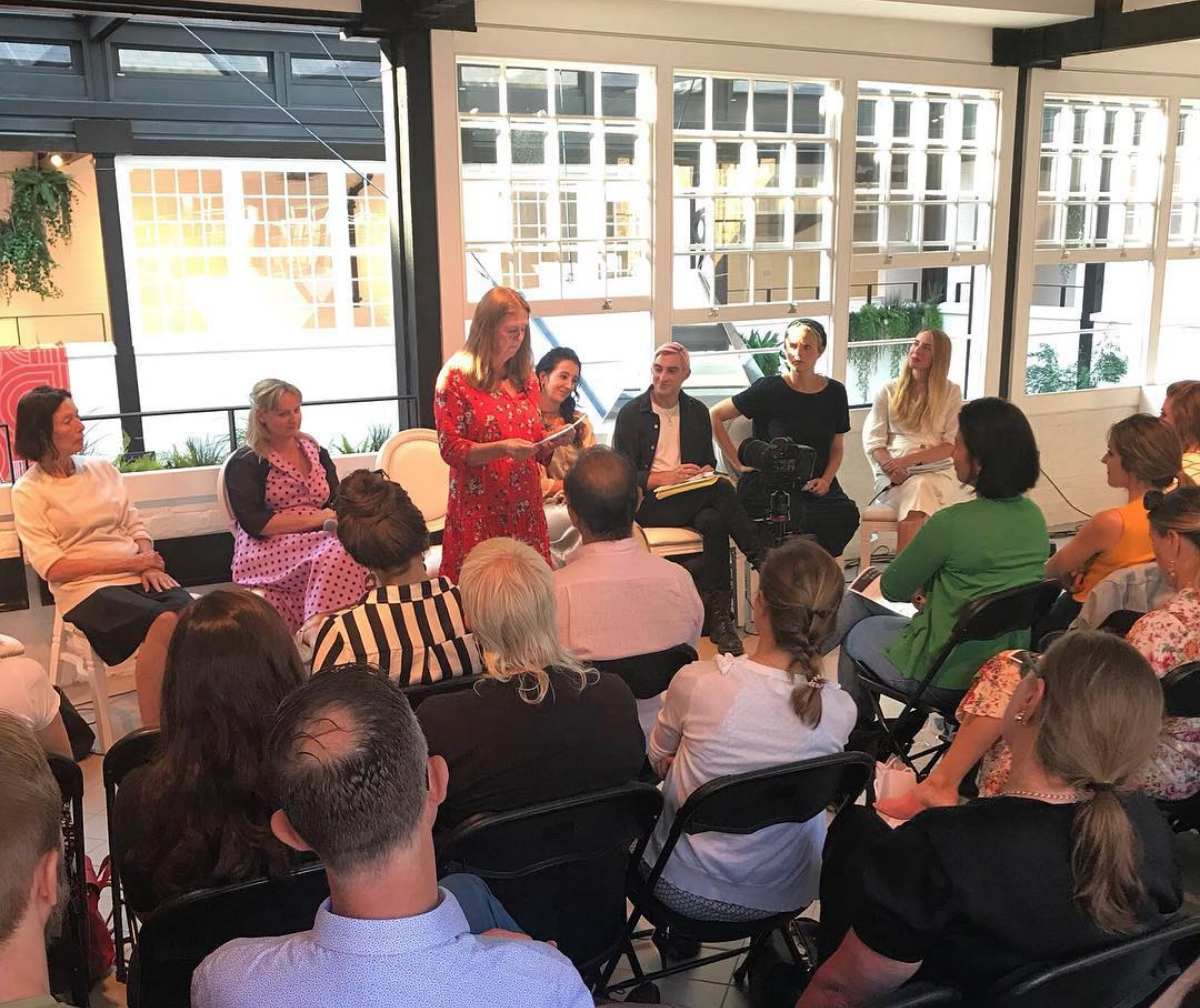 THE POWER OF INFLUENCE @ THE SHOP AT BLUEBIRD - JULY 2018Speakers: Katharine Hamnett CBE Designer and Activist, Dr. Lisa Cameron MP Chair of the All Party Parliamentary Group for Textiles and Fashion, Christine Megson Integrated Public Services Consultant and Coordinator for the Fabian Women's Network Mentoring Scheme, Karen Binns Fashion Roundtable, Carson McColl Chief Whip at Gareth Pugh and Co-Founder of Rawpowermovement, Anna Murray Co-Founder and Creative Director at Patternity, Jessie Brinton Writer and Former Features Editor at Sunday Times Style.