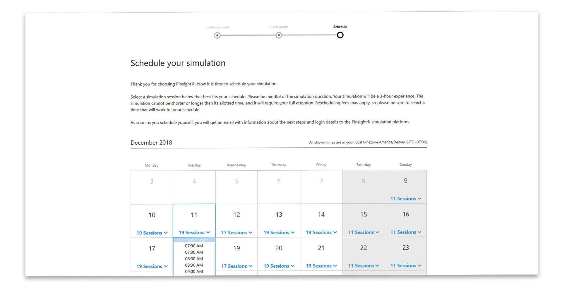 This graphic shows the Pinsight participant scheduling screen.