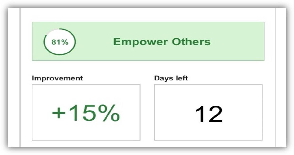 This tab shows a section of the leader habit app screen with improvement and days left to practice.