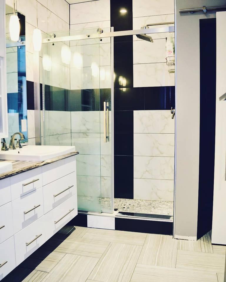 Master Bathroom with Custom Tilework