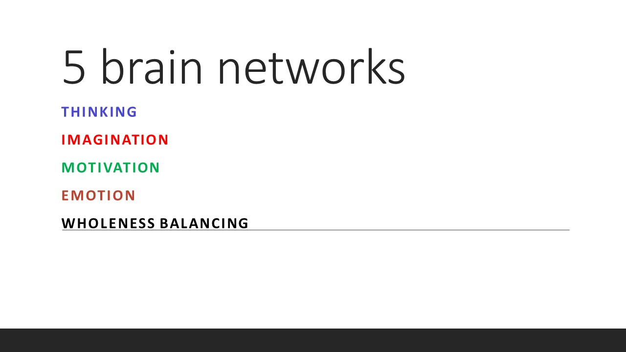 Do you need more thinking, fantasy, motivation, emotions, or balance? Are you filled with pleasure, enthusiasm and curiousity - if we may explain these 5 main important brain networks? Are you becoming enthusiastic when you understand this more?  Some important brain networks are often ruling our brain (according or against our will). Even when we need to be in another network! The names of the brain networks are not so easy to understand and remember. That is bad, because they may be so helpful to remember and use consciously! How may we simplify the complex brain network theories that are emerging the last years? I choose to test to call 5 important brain networks for:  1)THINKING,  2)IMAGINATION,  3)MOTIVATION,  4)EMOTION,  5)WHOLENESS BALANCING - networks.     Often used names of the 5 important networks are:   Central executing network (CEN),  Default mode network (DMN),  Panksepps 7 deep emotional networks (seeking, rage, fear, lust, care, grief, play),  Salience network (SN).     Test to rename the networks:   THINKING: Central Executive Network (CEN): Consciousness  IMAGINATION: Resting. Default Mode Network (DMN): Fantasy  MOTIVATION: Seeking. Curious. The motivation-and-reward system anchored in the nucleus accumbens, described by Jaak Panksepp as one of 7 primary emotions.  EMOTIONAL NETWORKS, specifically those identified in the lower non-cognitive brain regions by Panksepp. The 6 other deep primary emotions networks - other than Seeking, are: Rage. Fear. Lust. Care. Grief. Play. networks.  WHOLENESS BALANCING: Integration. Salience Network (SN). Awareness: Value, social awareness network.    So let's play with names that you may associate better! Get inspired to grasp brain network theory!  When we simplify to 5 important brain networks: We simultaneously have to remember there are moment to moment created new inter connected, cross links between the main important 5 brain networks and many other networks not mentioned here.    Some functions of these n