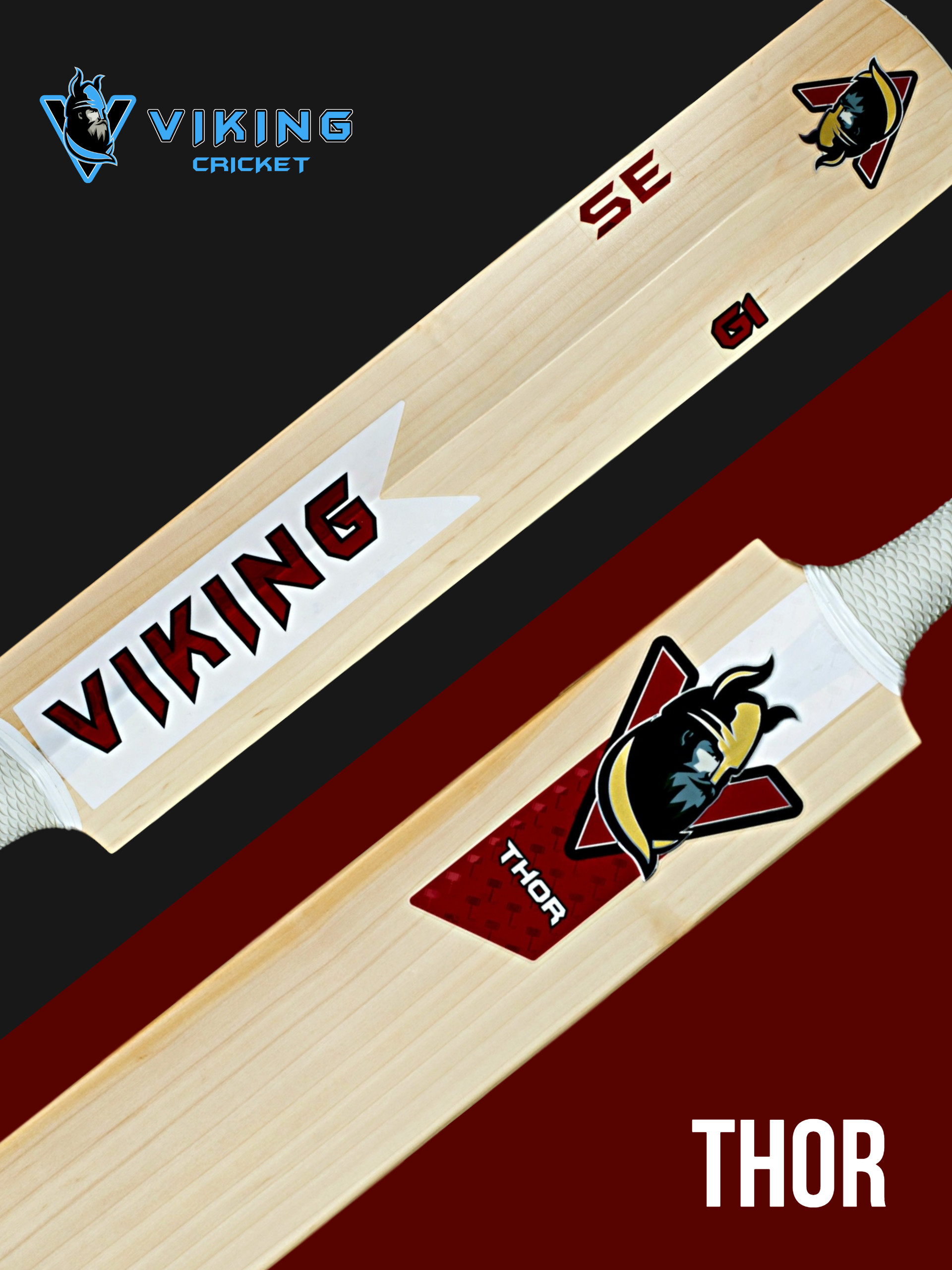 - There can't be many people who don't know who Thor is. The hammer wielding God associated with thunder, lightning and strength.Our Thor cricket bat will give you devastating hitting power, with it's thick edges and wide spine area you'll have all the destruction to find those boundaries with it's Viking duck bill shape this bat is balanced to perfection due to it's weight distribution.The Thor comes in weights from 2lb10oz - 3lb+we have 3 grades SE,PRO & CLUB details about grades of bat can be found on our useful info pageLike all Viking bats it has a snake/scale grip, toe guard and decals to die for.The Thor features a 3D embossed logo and a matt and gloss finish.This bat doesn't just look good, it's made to destroy bowlers.