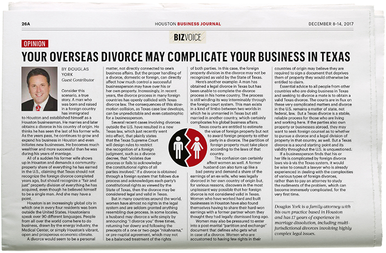 Your Overseas Divorce May Complicate Your Business in Texas