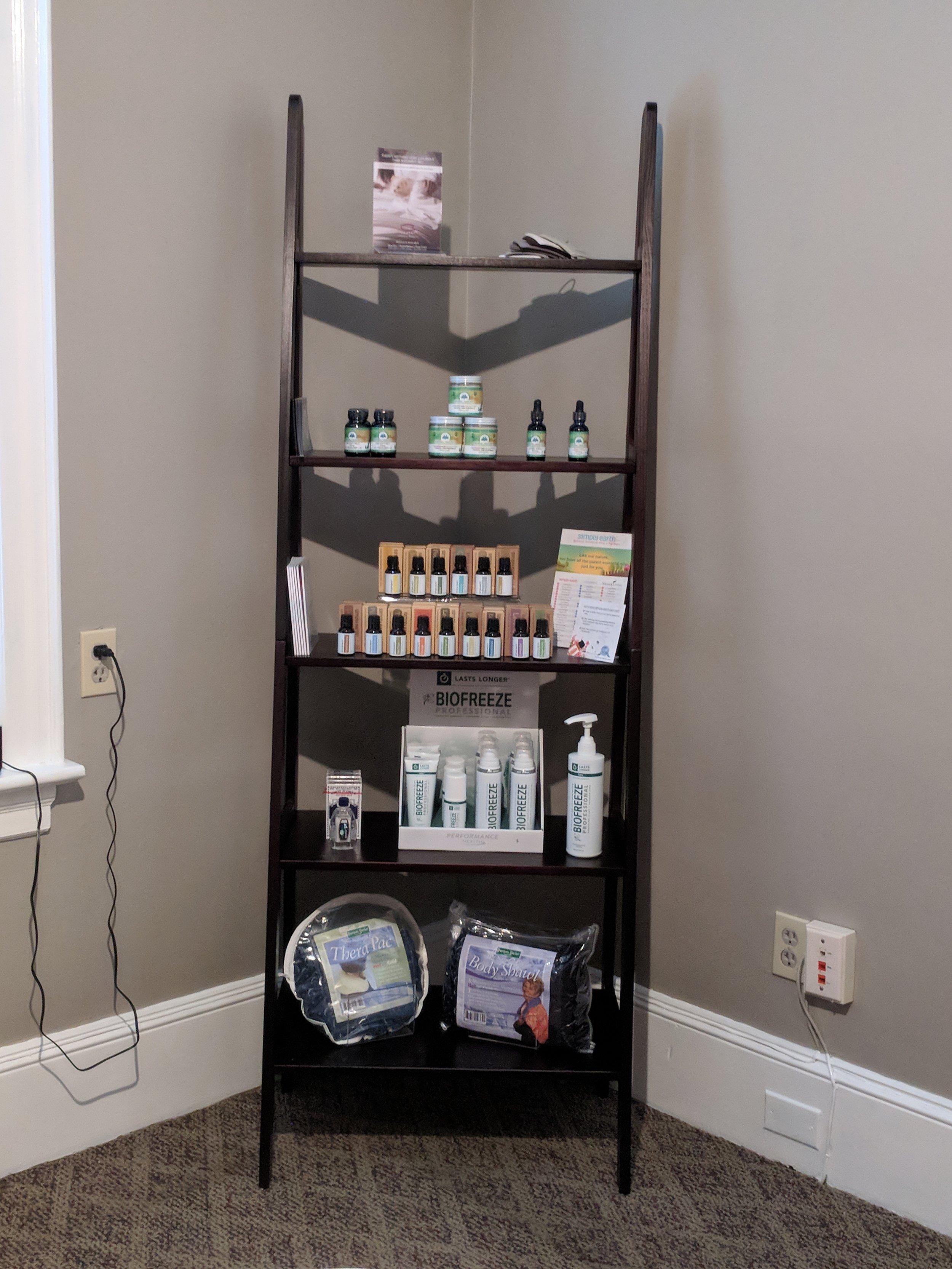 Retail shelving Herbal Healers CBD Simply Earth essential oils Grampa's Garden Heat Packs Biofreeze