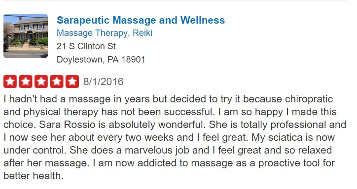 Sciatic relief when nothing else worked review for Sarapeutic Massage