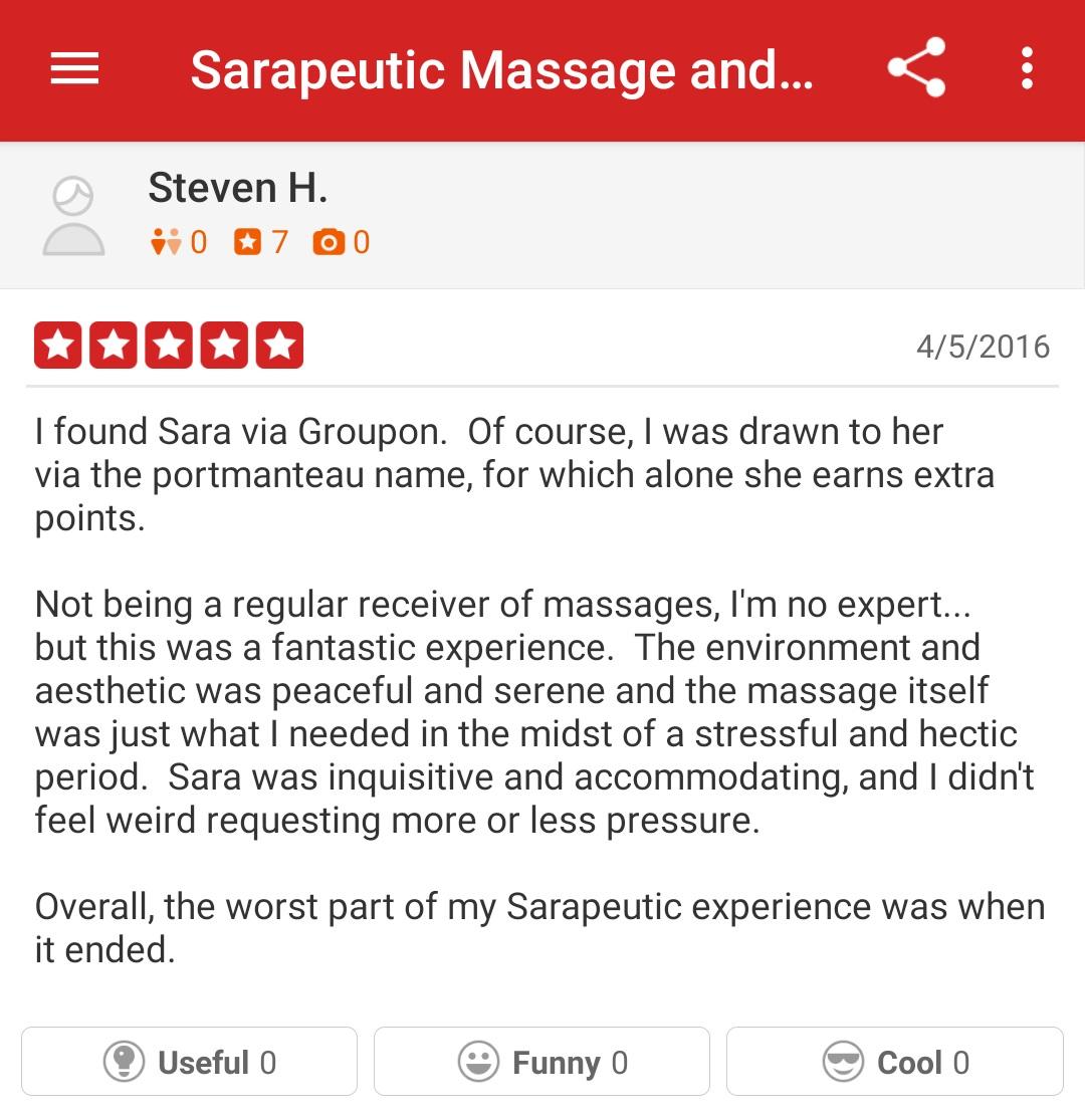 Fantastic massage, perfect pressure