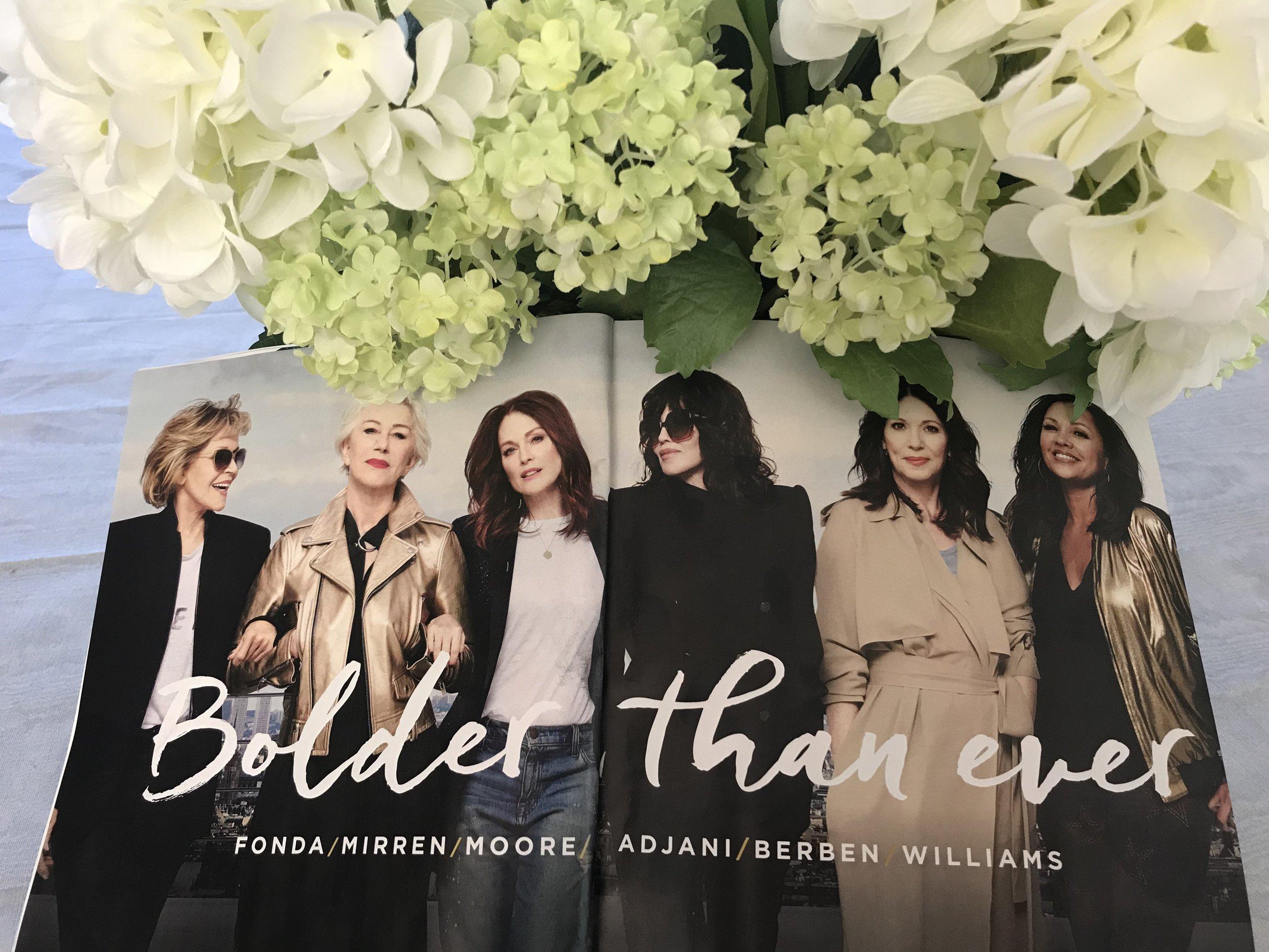 Line up, left to right:Jane Fonda, 80, Helen Mirren, 72, Julianne Moore, 58, Isabel Adjani, 63, Iris Berben, 68, and Vanessa Williams, 55