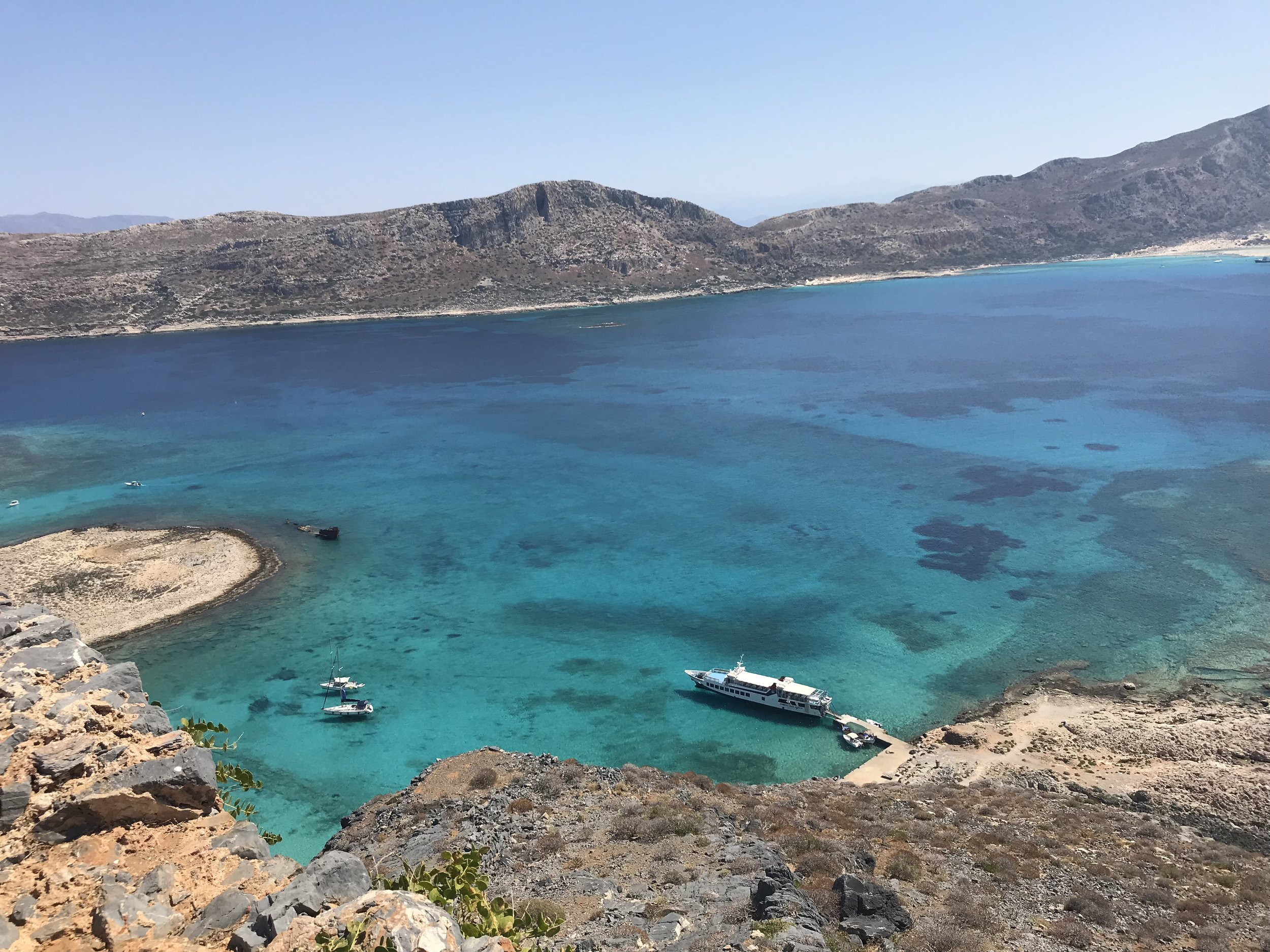 The view from the castle on Gramvousa with the Balos lagoon in the top right corner