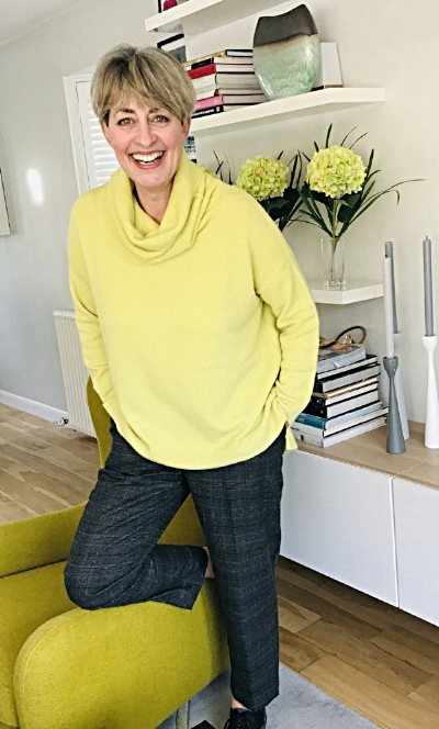 Felt Look Cowl Neck Sweater in Lime from John Lewis and Partners