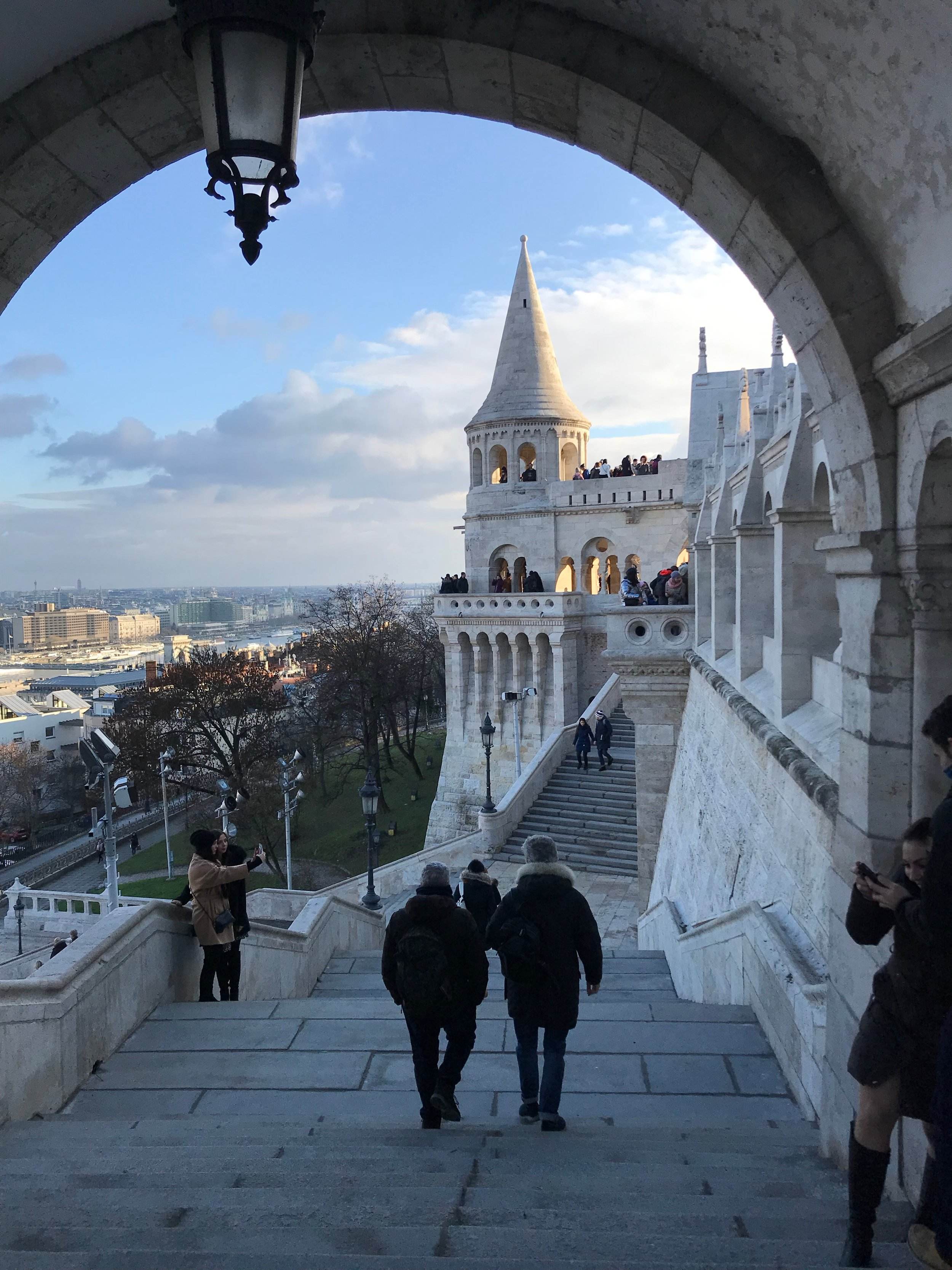 A view of the city from the steps leading up to, or down from (depending which way you're going!) Fisherman's Bastion