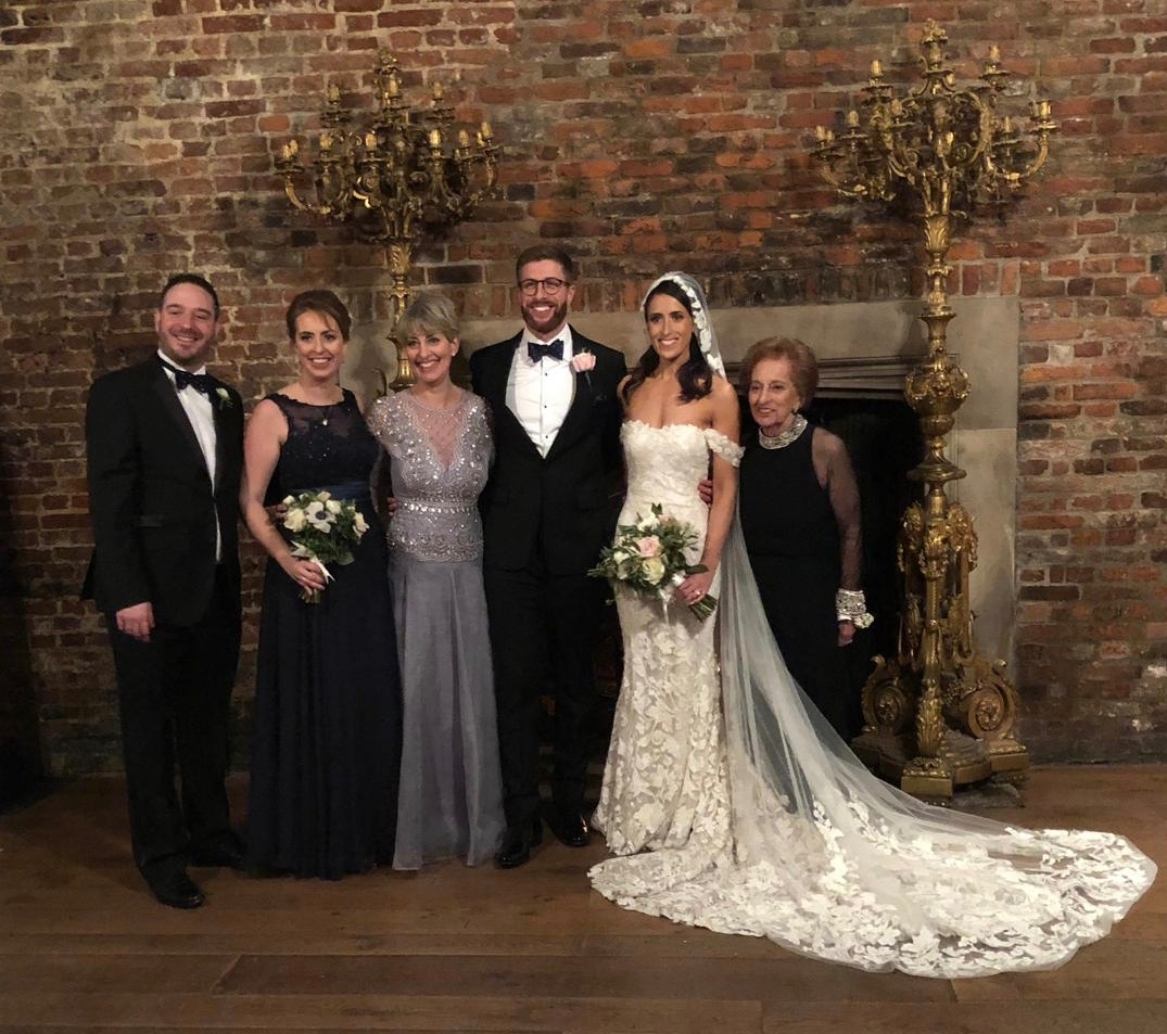 The bride and groom, Emily and Zac, my daughter and now son-in-law, with my mum (right), and my other daughter, Tash and her husband Ian (left)