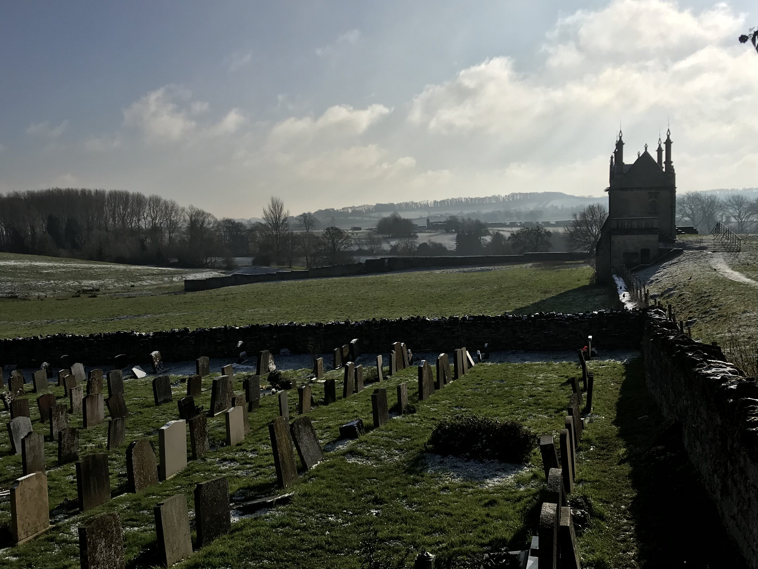 The beautiful view from the beautiful graveyard of St James parish church in Chipping Campden
