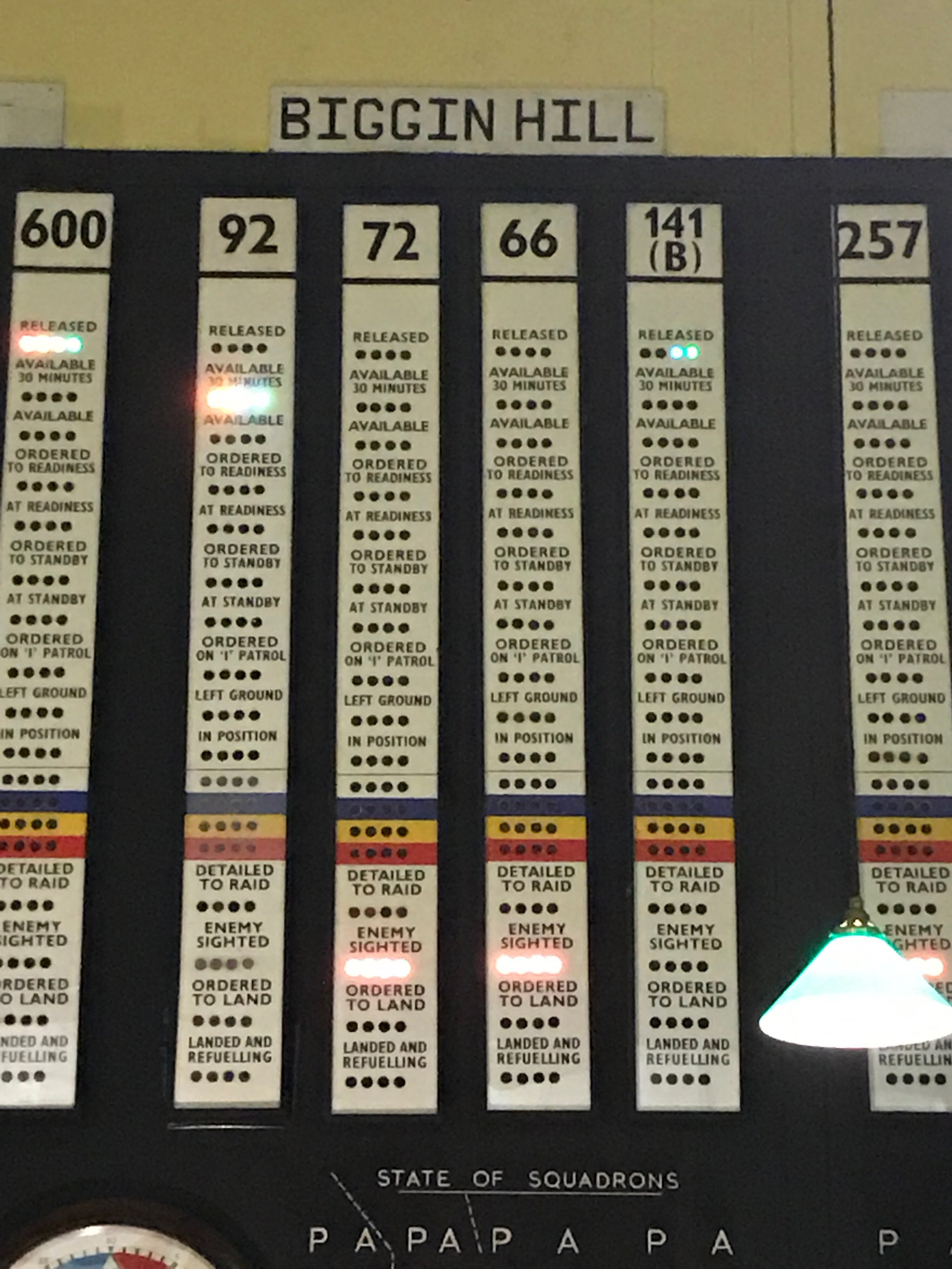 The status of each aircraft and crew was shown by a series of coloured lights