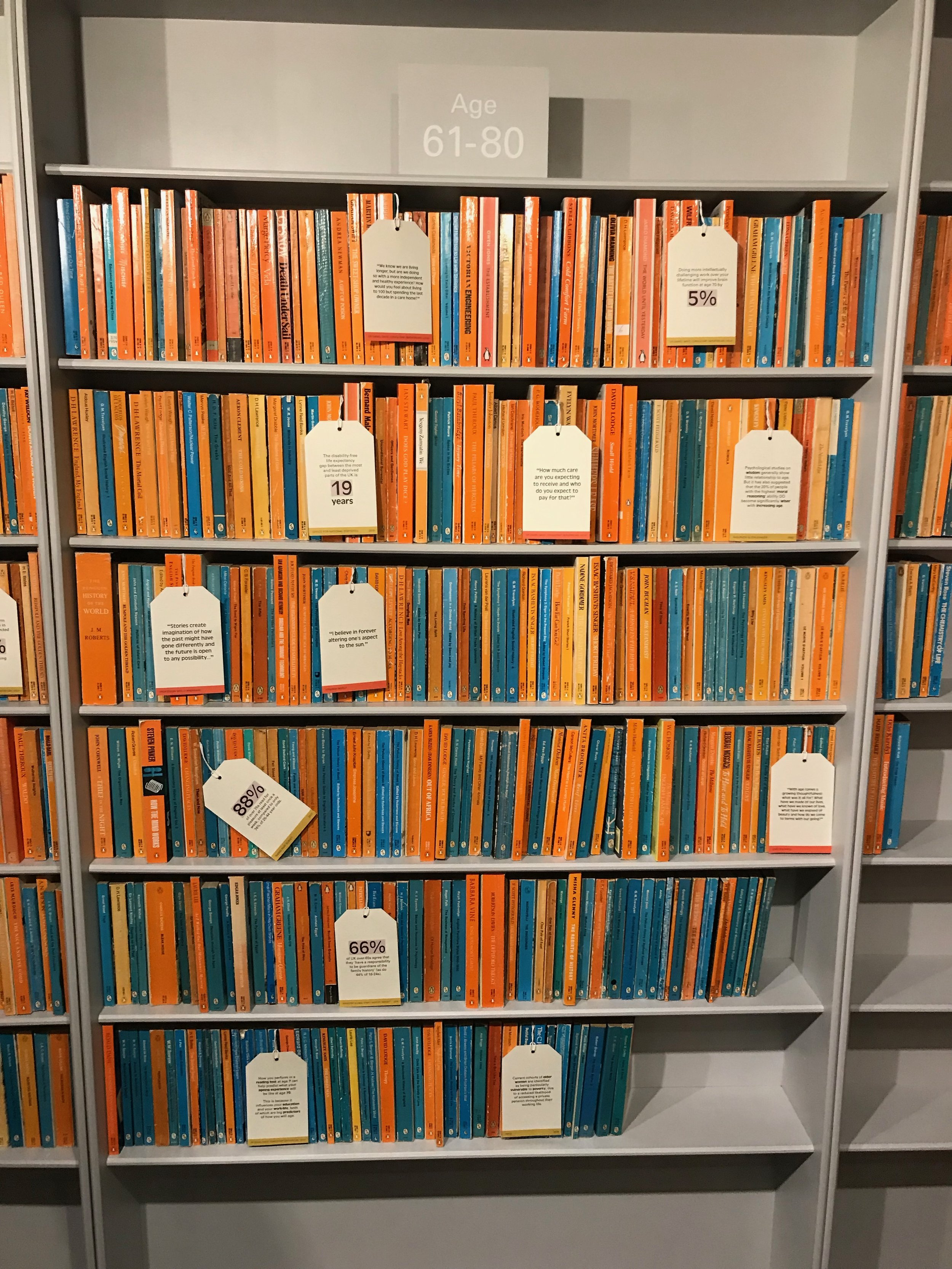 This was one section of a floor to ceiling bookcase covering one whole wall of the exhibition space. The orange books represent the percentage of healthy people in the 61-80 age group, the books with blue spines show the percentage with illness. They're arranged from the wealthiest sectors of society at the top to the poorest at the bottom