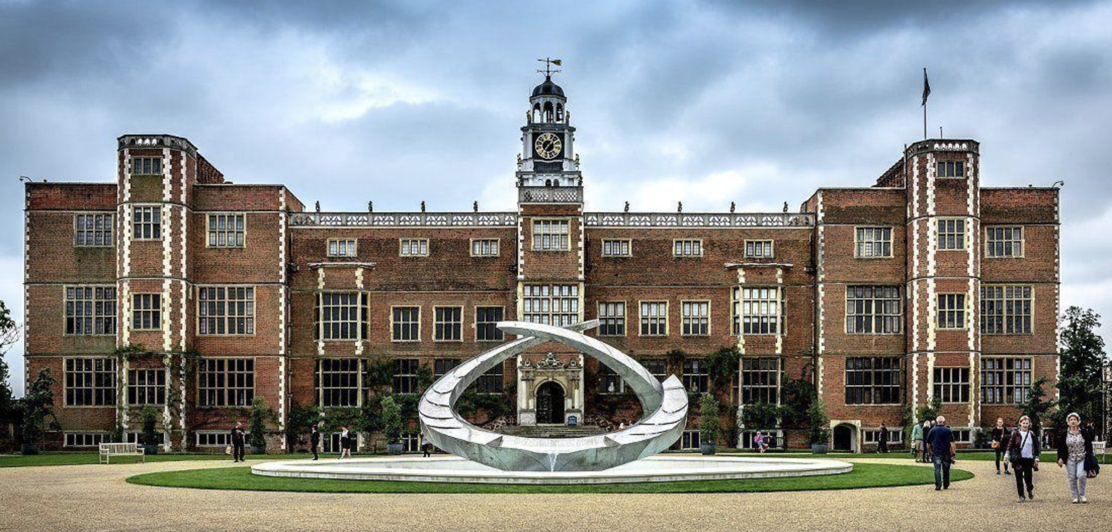 The rear facade of Hatfield House. Visitors enter through the door in the centre.