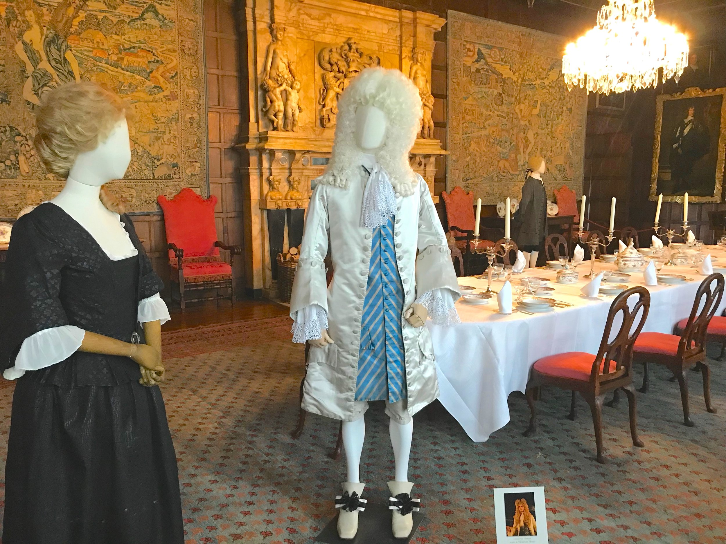 Costumes worn by Emma Stone, Nicholas Holt for The Favourite, on display in Hatfield House