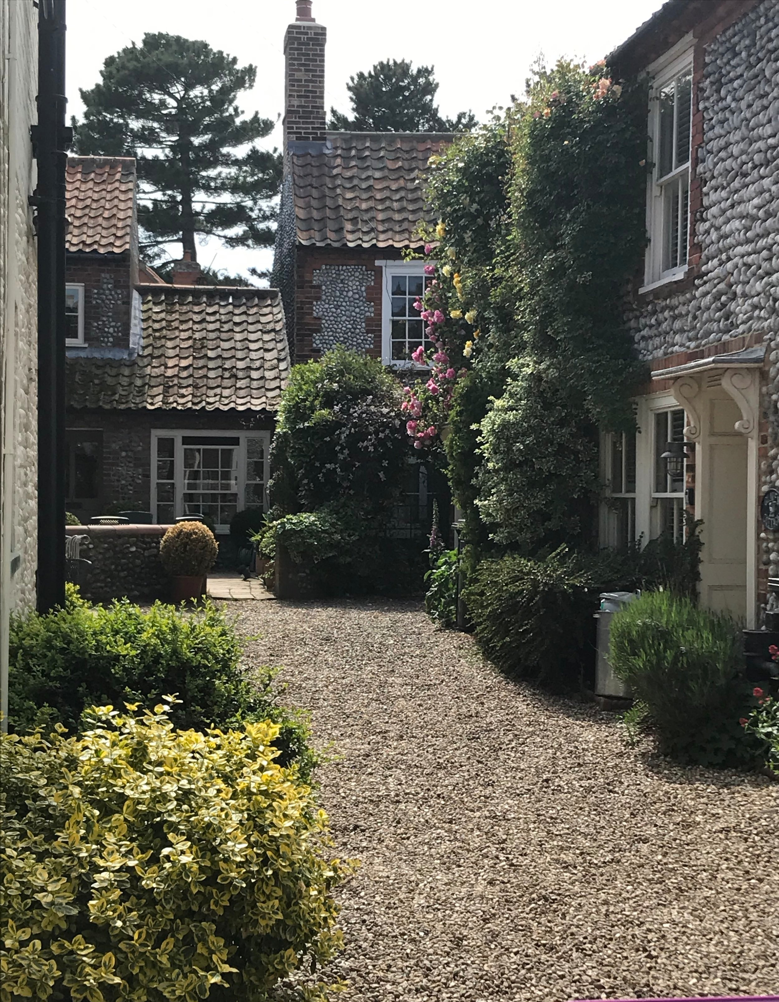 Flint walls are a feature of many of the houses in the lovely villages we visited