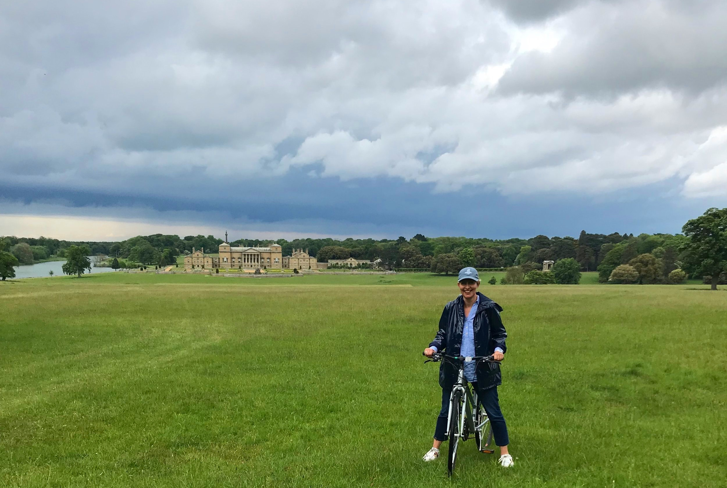 Holkham Hall in one of the brief intervals between rain showers. The cycling was along well maintained paths. I'm just on the grass to get this shot!