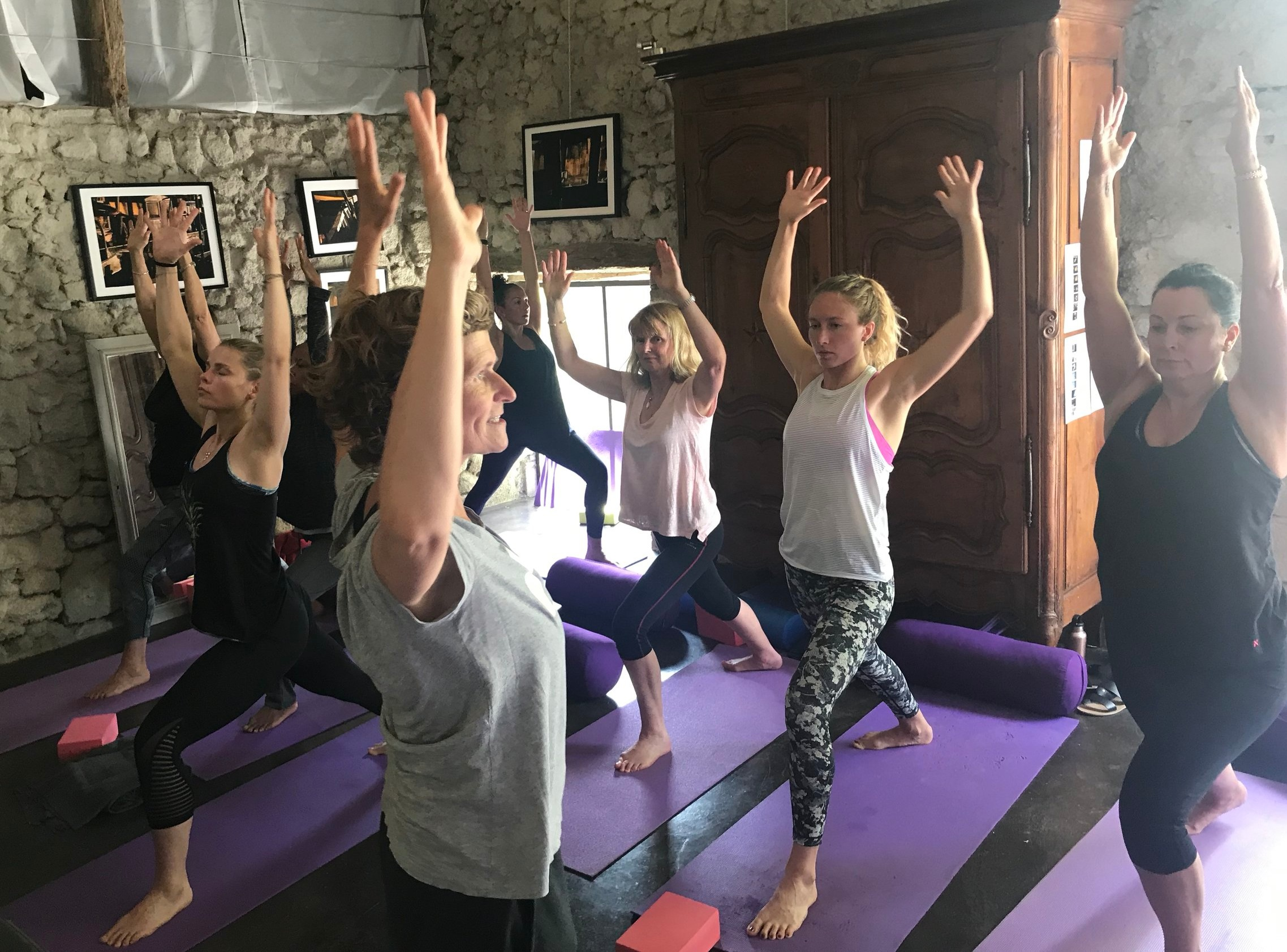 Post lunch yoga for the retreaters and the staff team. That's chef Andrea on the left of the teacher, with her eyes shut