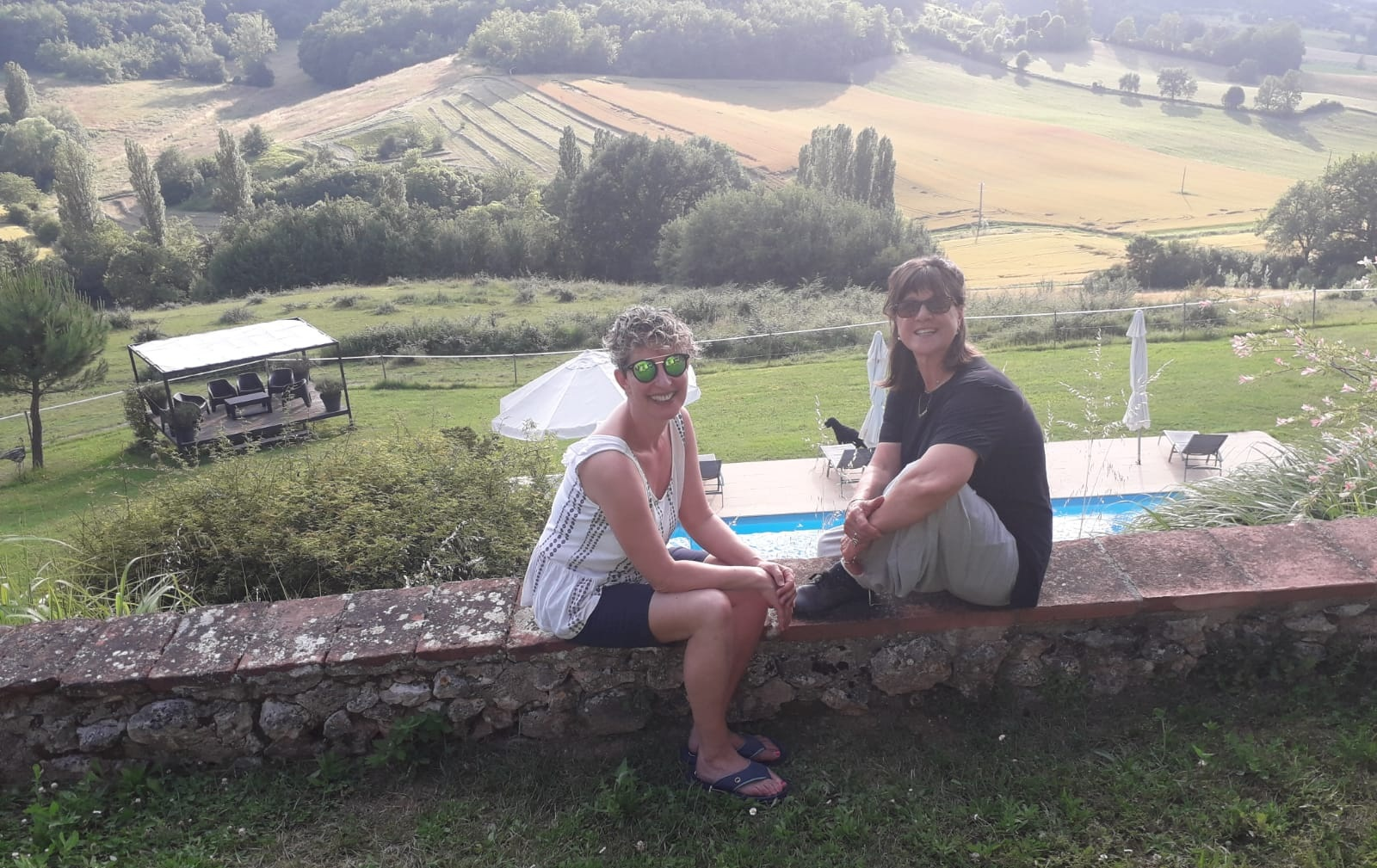 Yvonne and I chatting with the beautiful setting of her Health Retreat in SW France as a backdrop