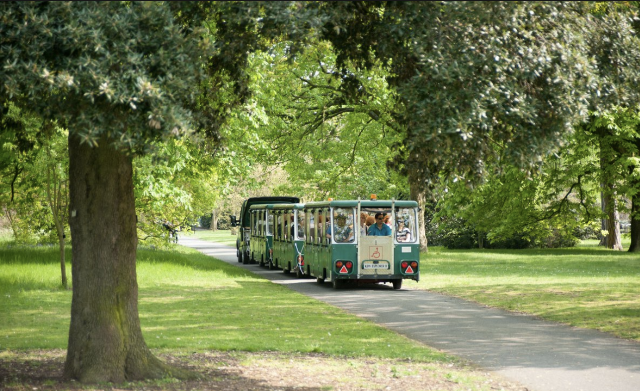 The hop-on-hop-off land train is an easy way to see around the 300 acre site
