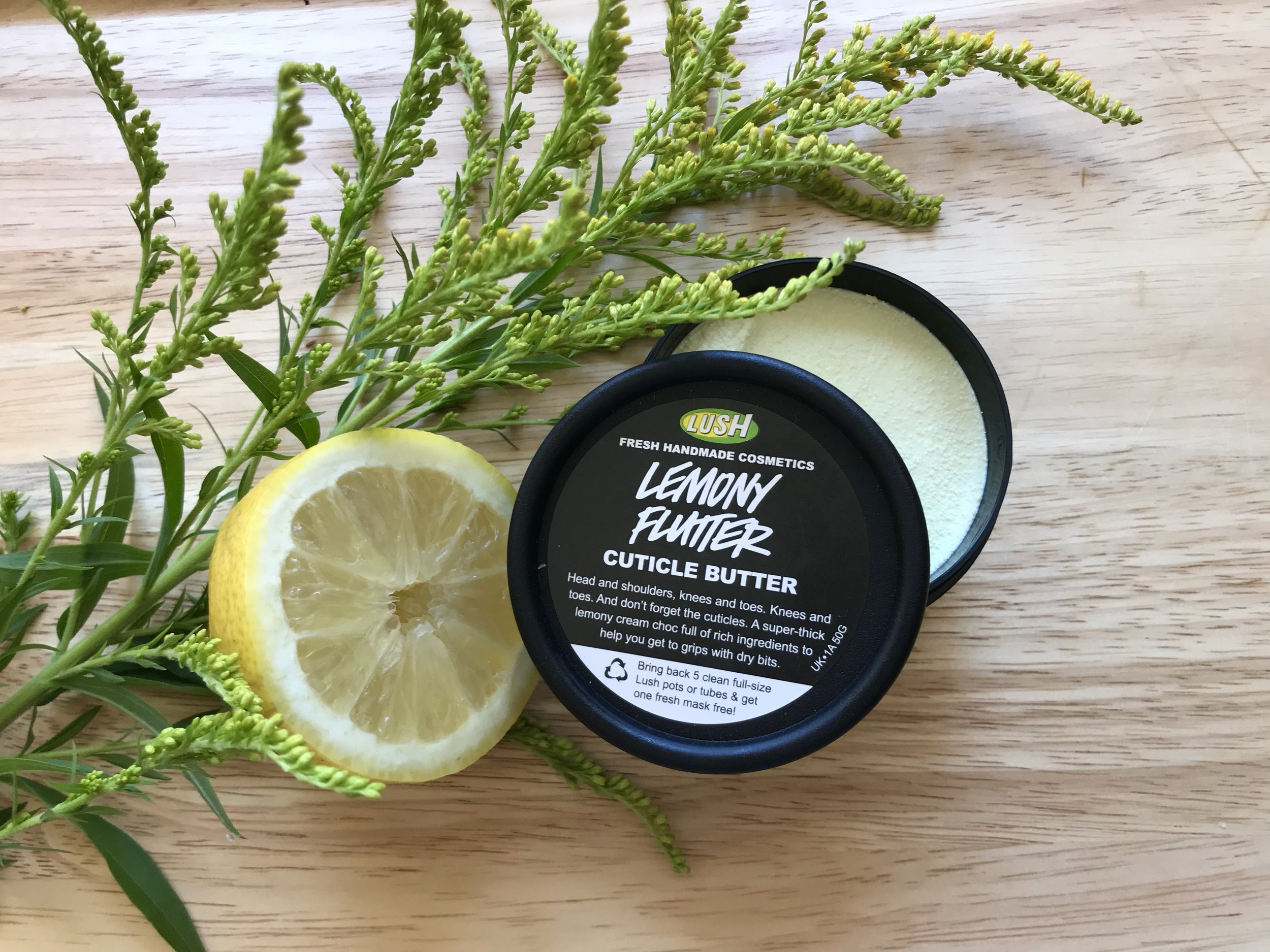 Lemony Flutter Cuticle Butter by Lush. A creamy, citrusy treat for dry skin