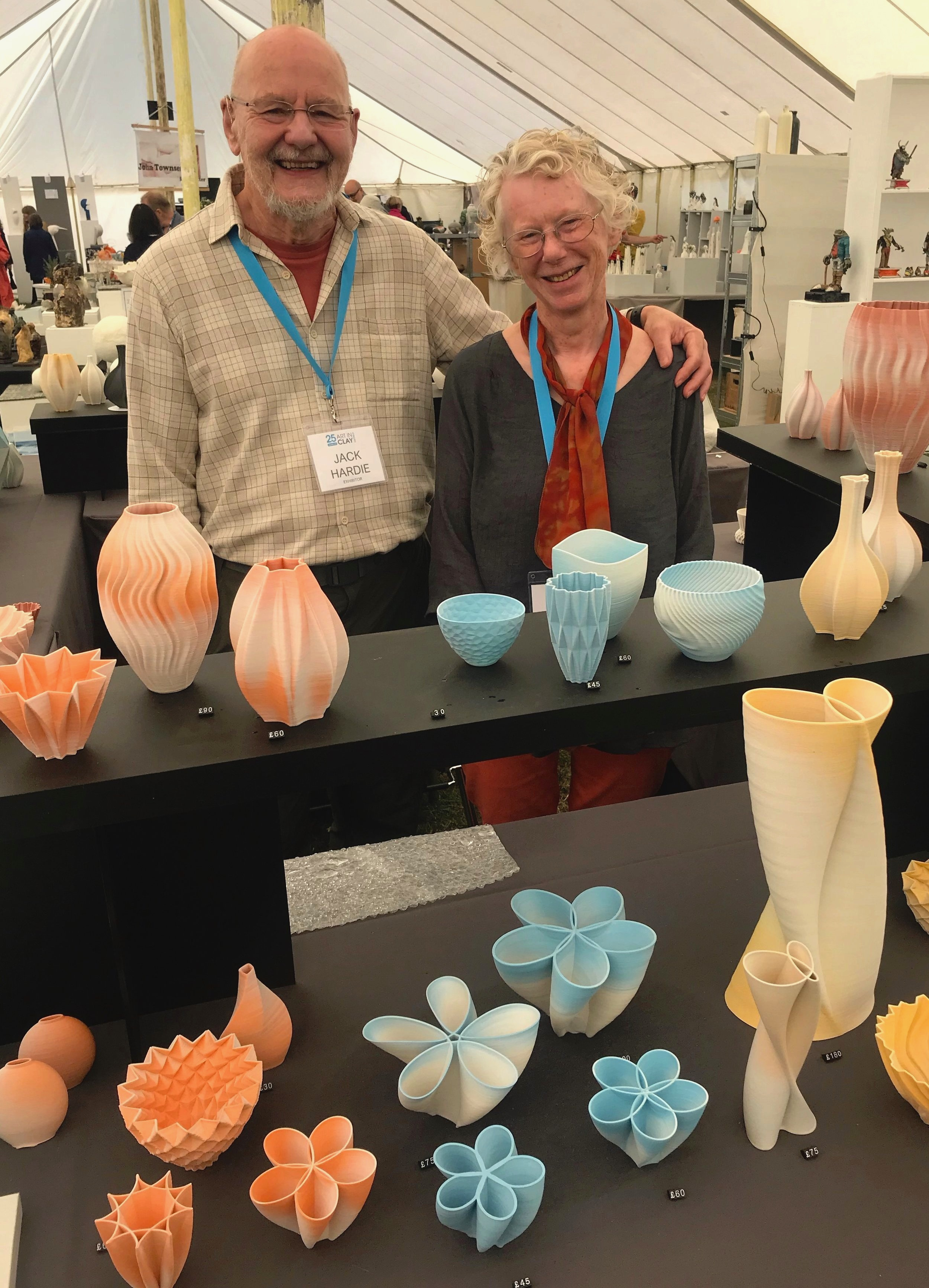 Jack and Joan with some of their fabulously unusual pottery, made using a unique method