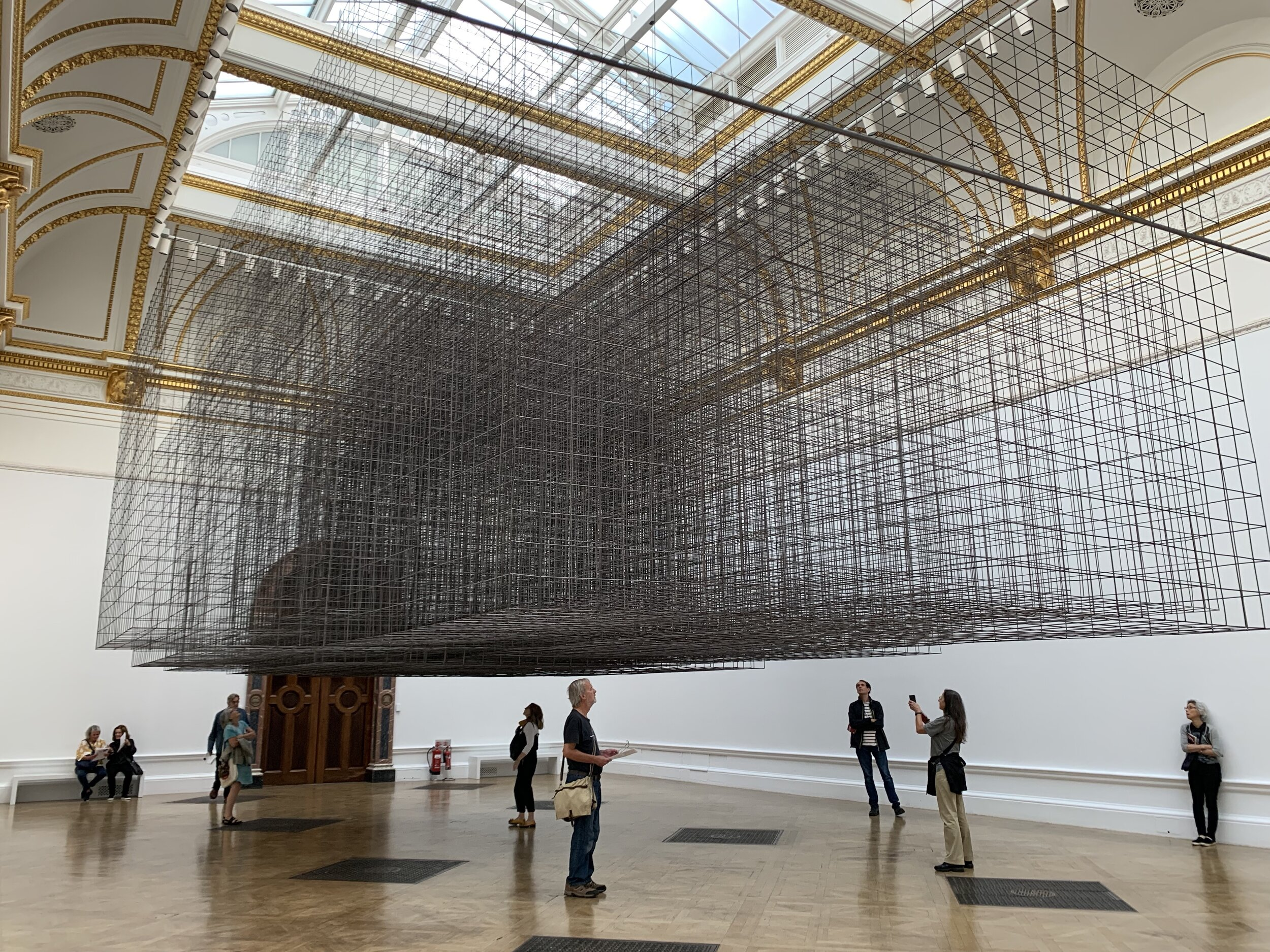 Matrix III is a gigantic suspended steel mesh labyrinth that Gormley designed especially for the largest of the Royal Academy galleries
