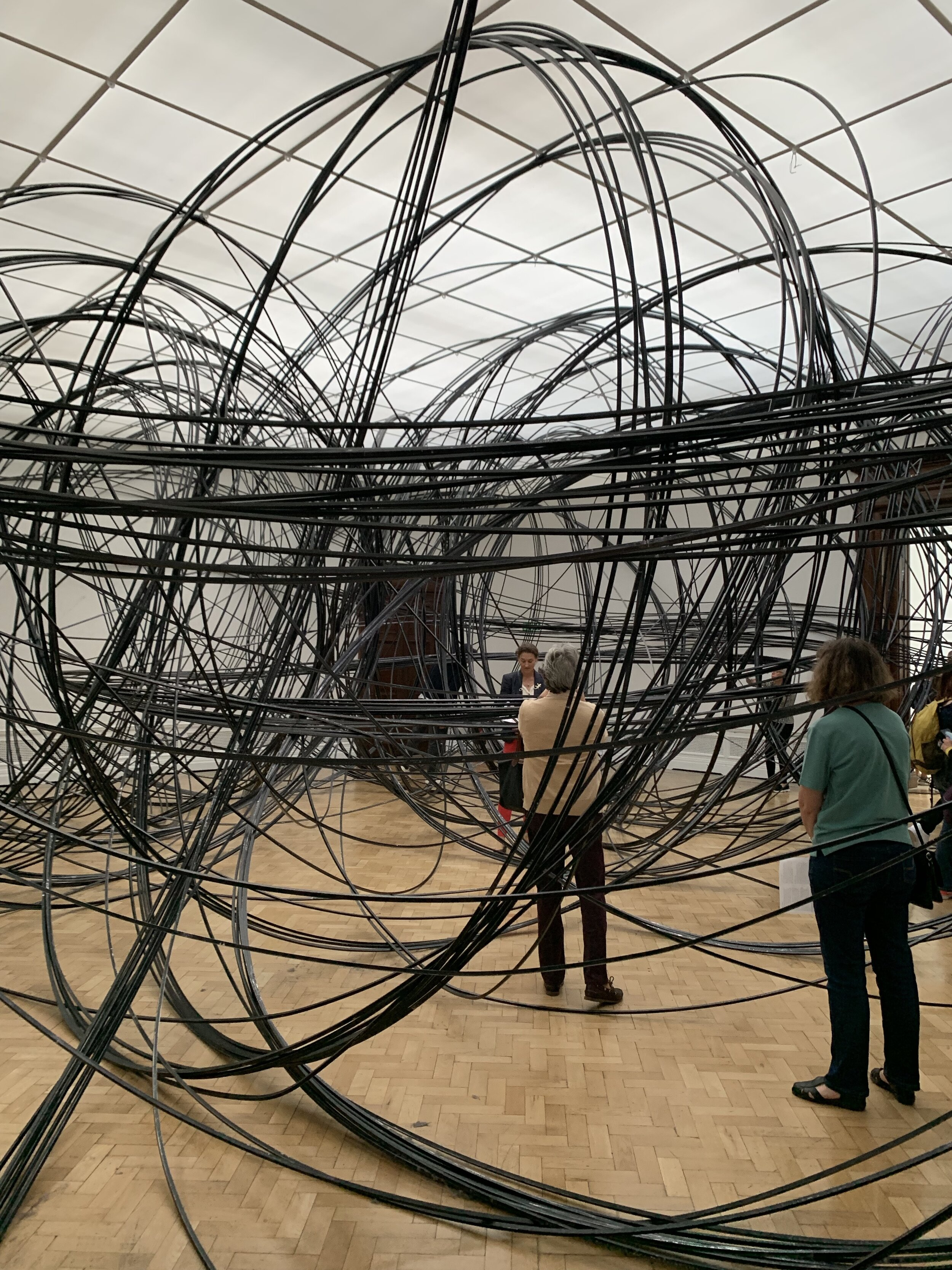 Gormley describes the mass of coiled aluminium tube that makes up Clearing VII as 'drawing in space'