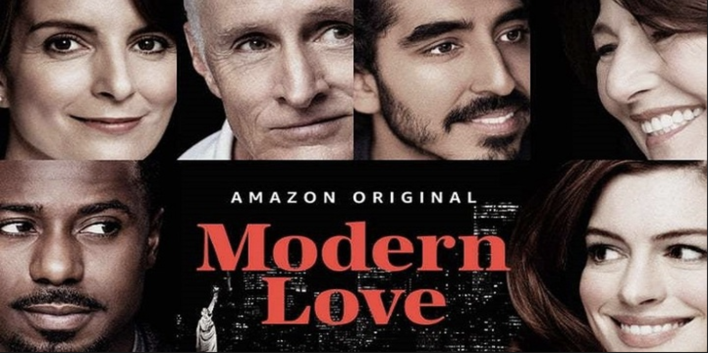 The cast of the self-contained episodes of Modern Love includes Anne Hathaway (bottom right) and Dev Pate (top second from right)