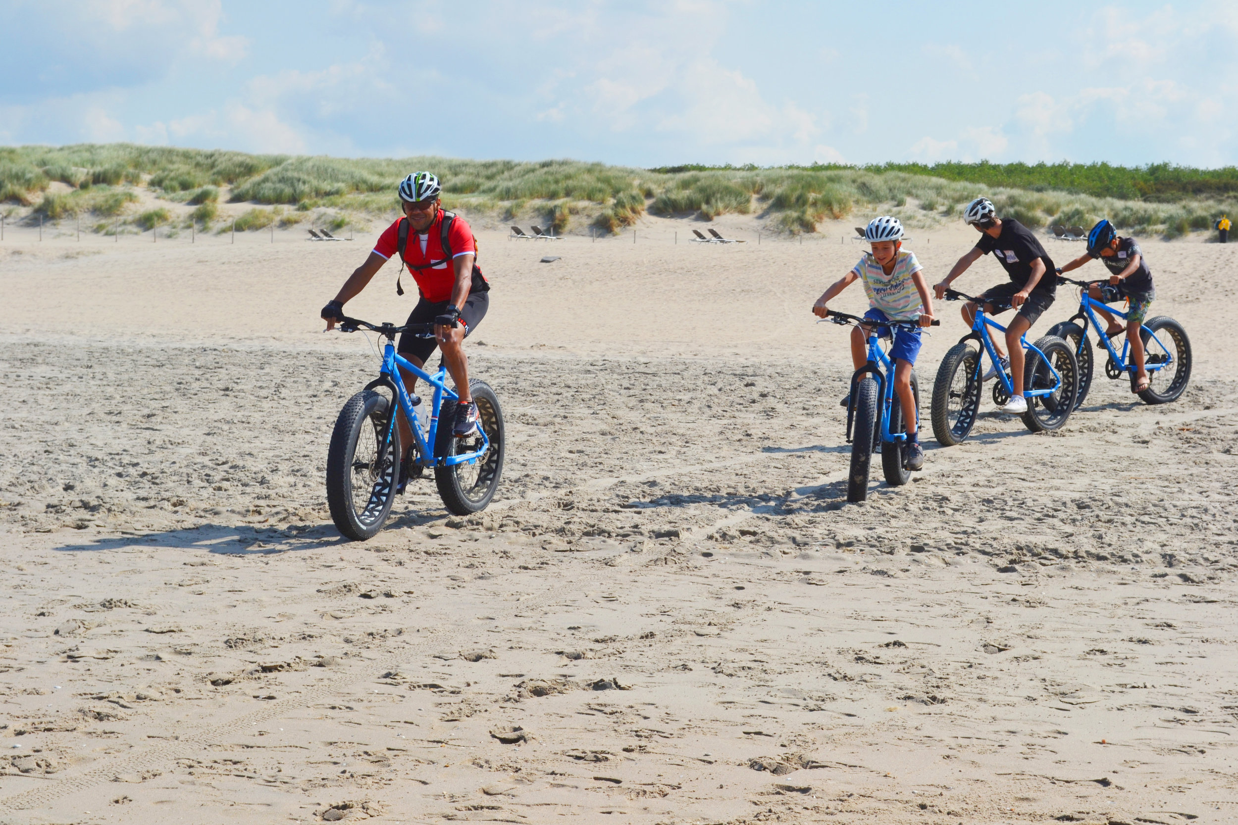 Marco, one of our board members, led a beach-biking session with kids