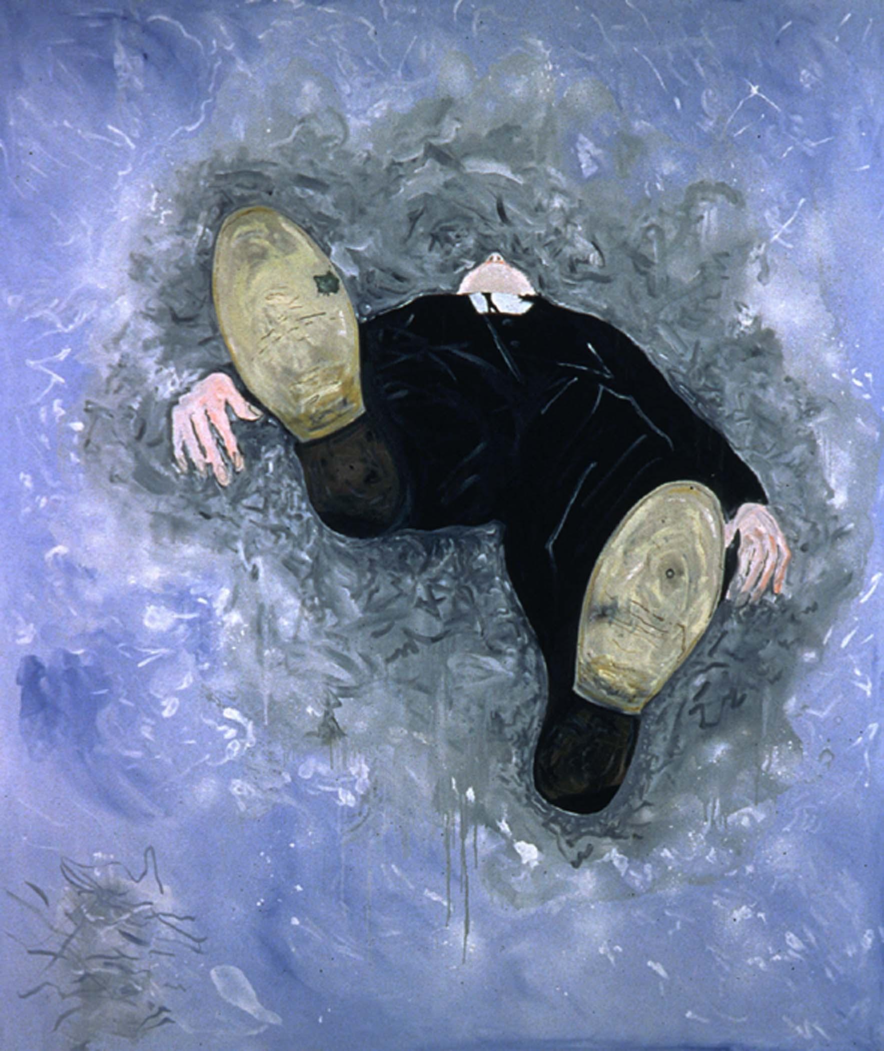 """Sous un nuage gris,  2000, huile sur toile / oil on canvas, 68""""x 80"""", 172 x 203 cm."""