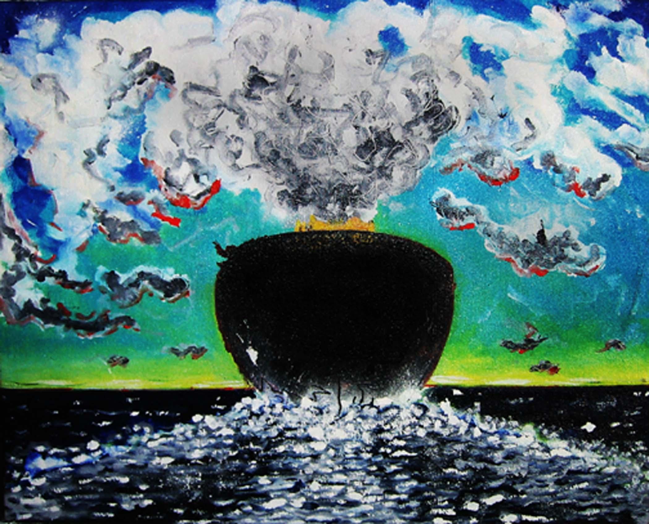 """Bateau départ / Goodbye boat,  2001, huile sur toile / oil on canvas, 16""""x 20"""", 41 x 51 cm."""