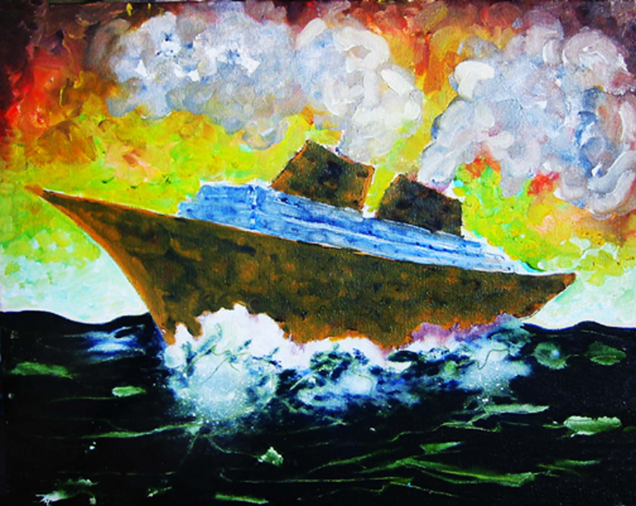 """Bateau beige à contre-jour /Backlit beige boat,  2001, huile sur toile / oil on canvas, 16""""x 20"""", 41 x 51 cm."""